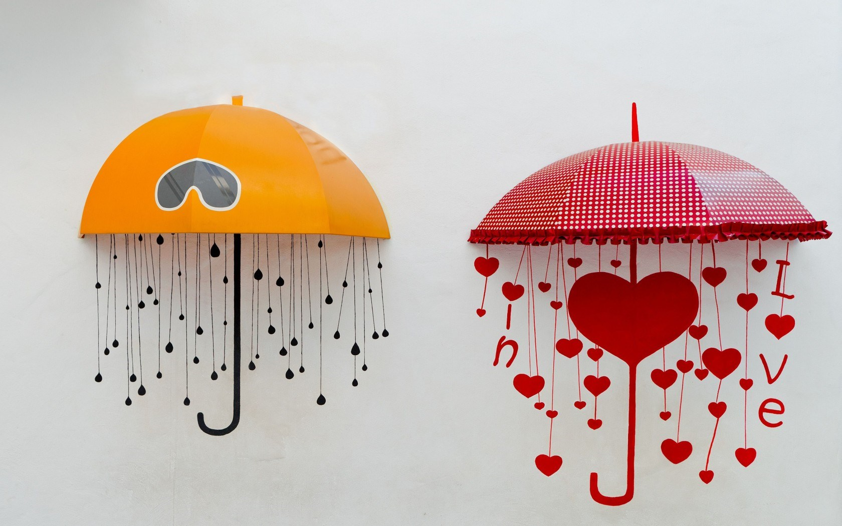 Mood Umbrellas Yellow Red Rain Love Hearts Art