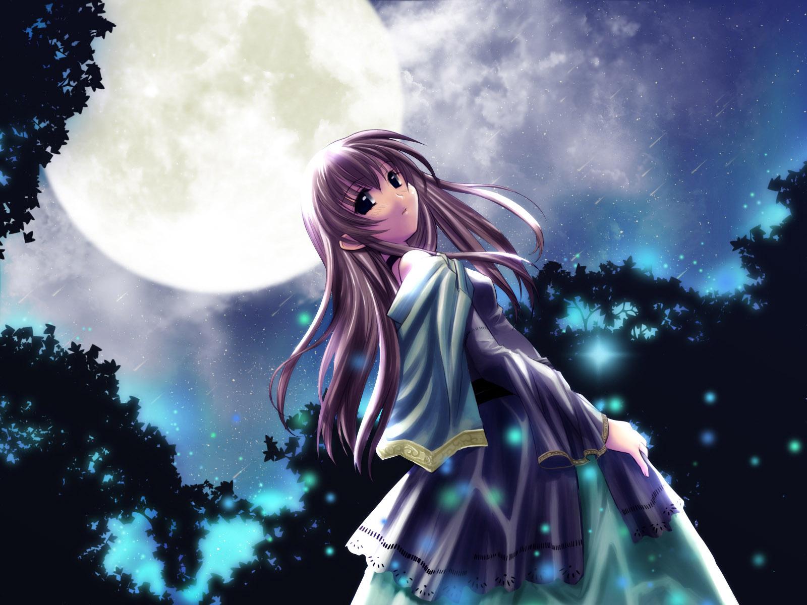 Anime Girl Under The Moon
