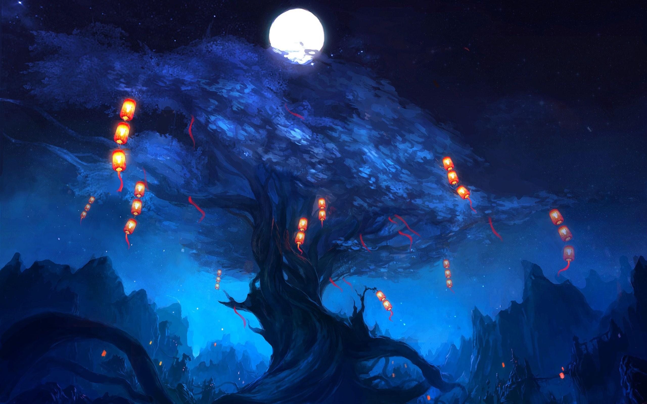 Art Tree Lanterns Moon Night