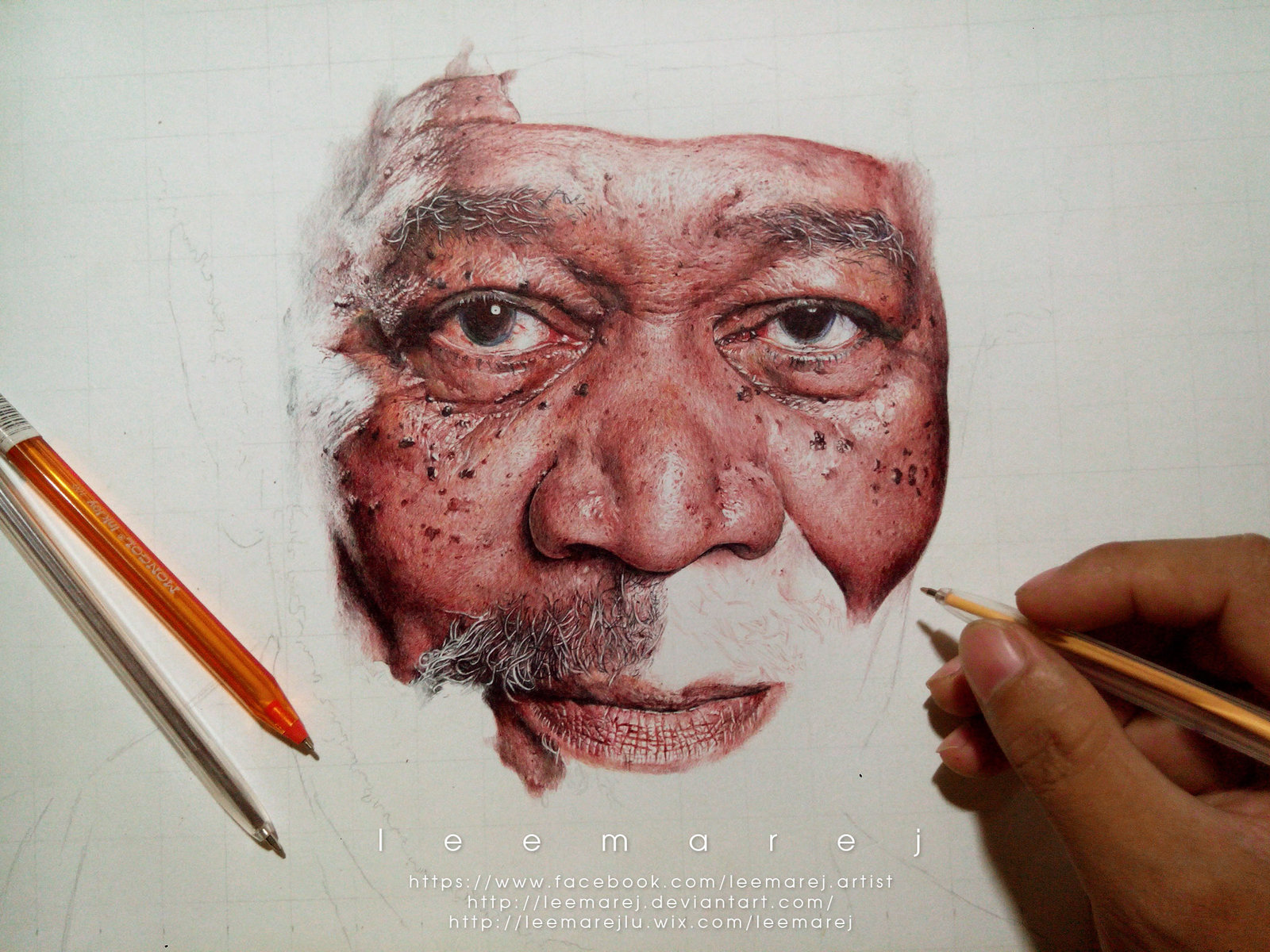 ... Ball pen Portrait of Morgan Freeman WIP 4 by leemarej