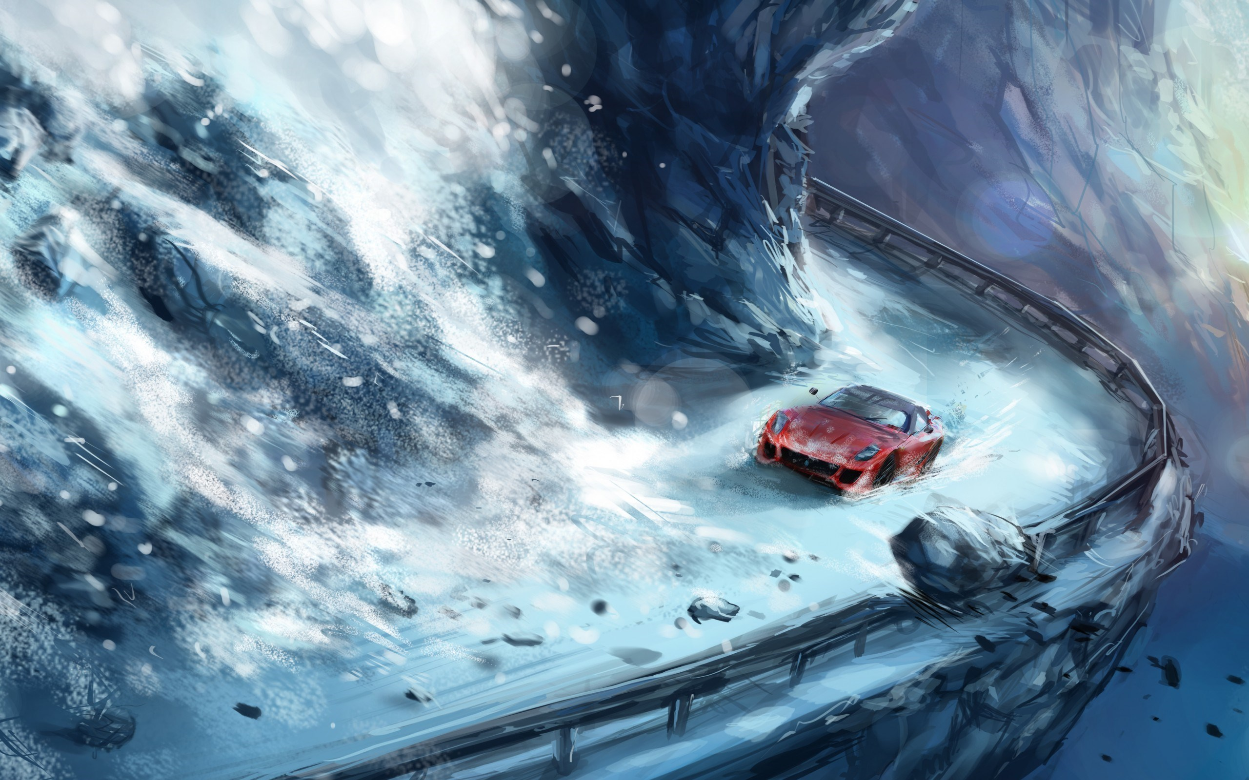 Mountain Avalanche Stones Snow Road Red Car Art