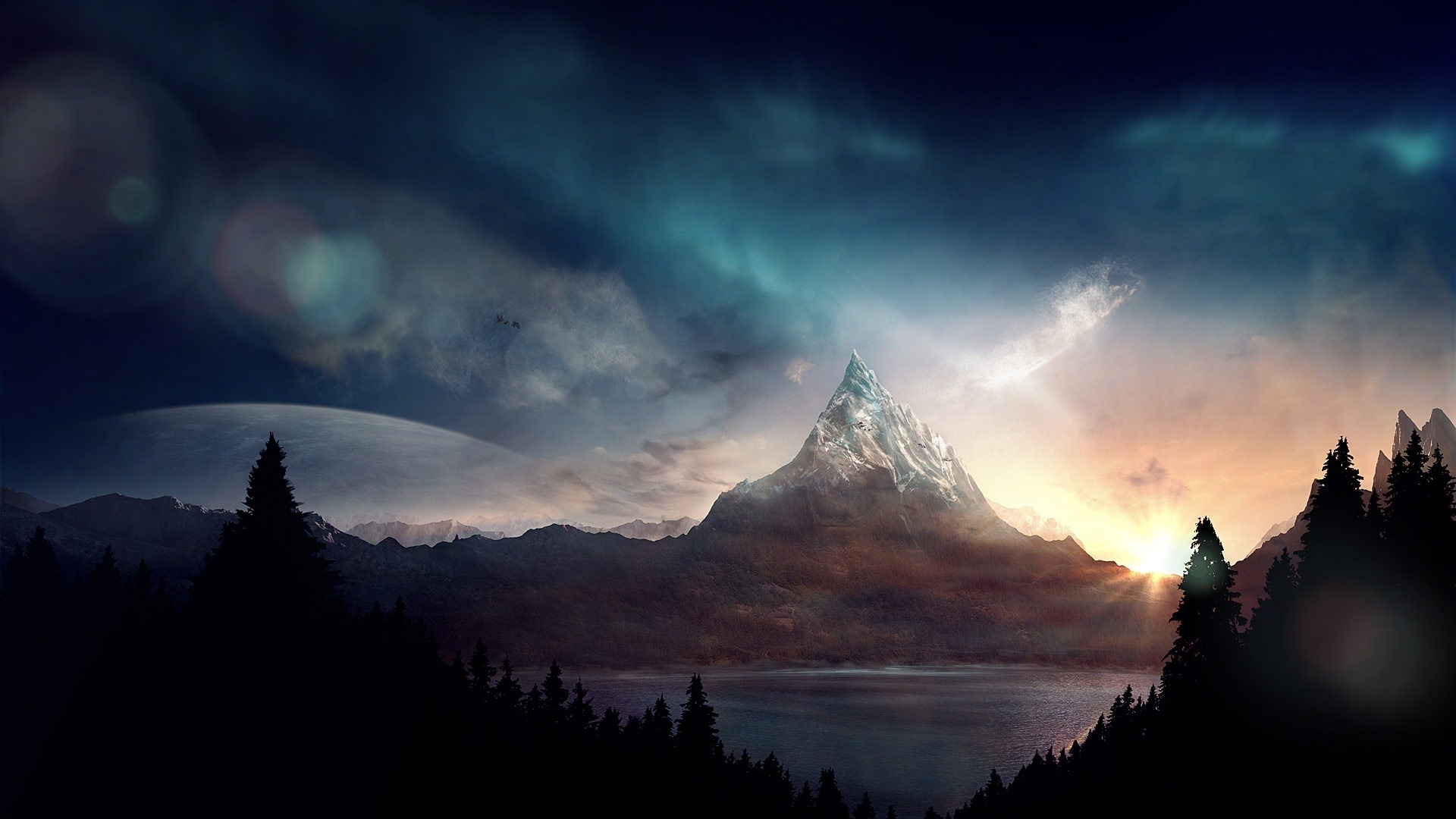 1920x1080 Wallpaper peak, mountain, fantasy, art