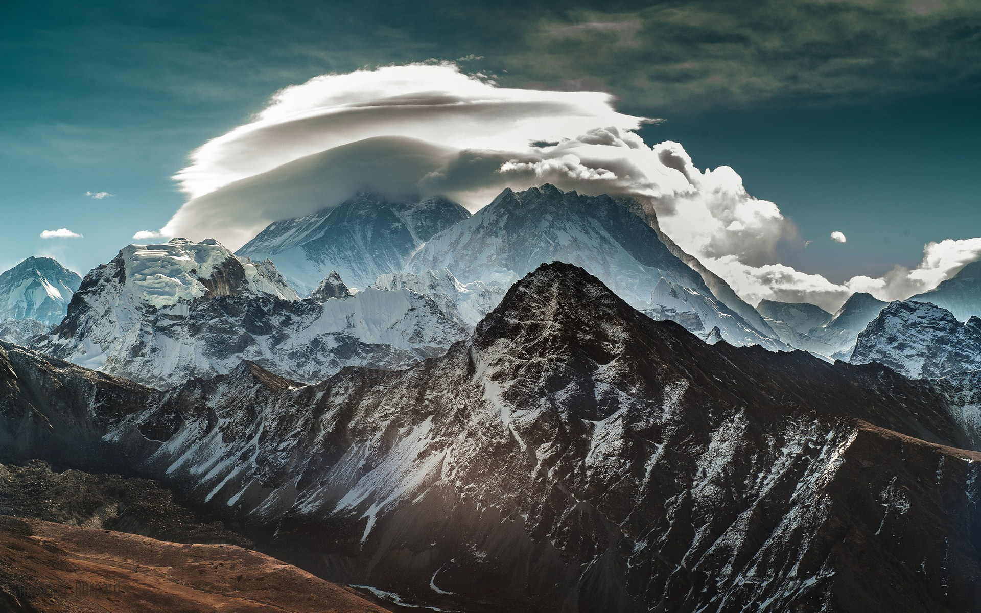 Mountains Snow Clouds Sky Nature Photo