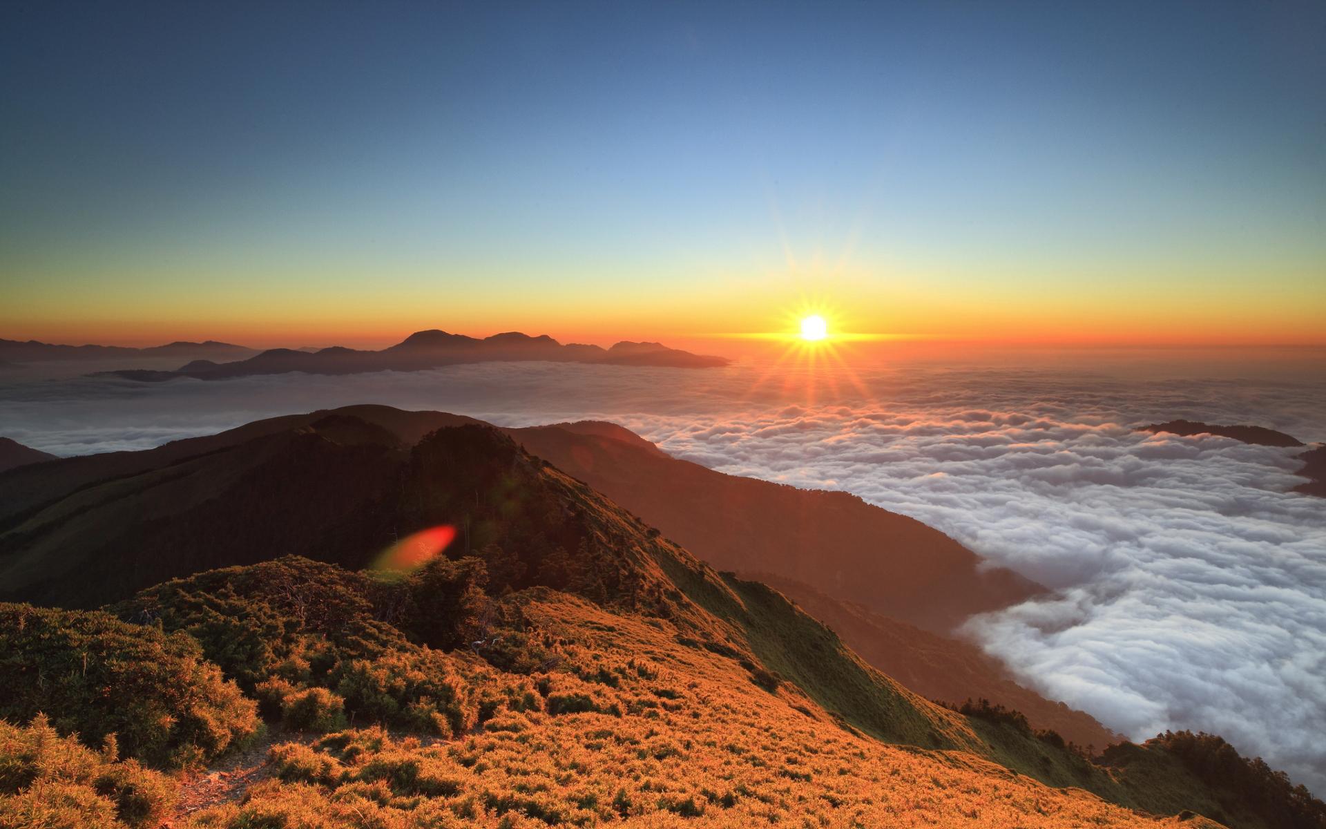 Mountains sunset panorama