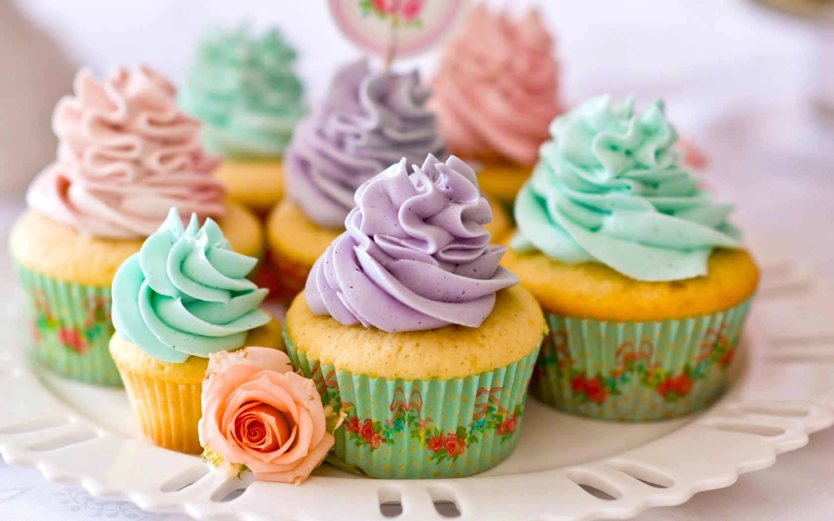 Muffins Cream Sweets Dessert Rose Flower