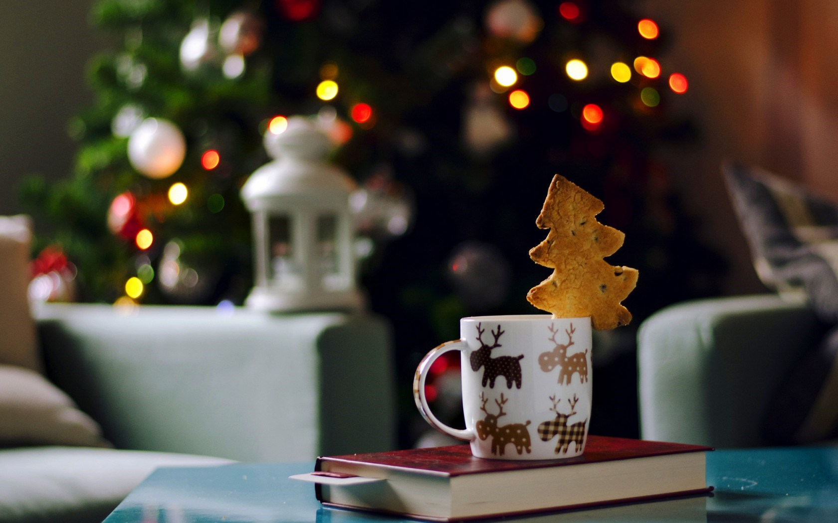 Mug Cup Cookies Book Christmas Tree Lights Garland Holiday New Year