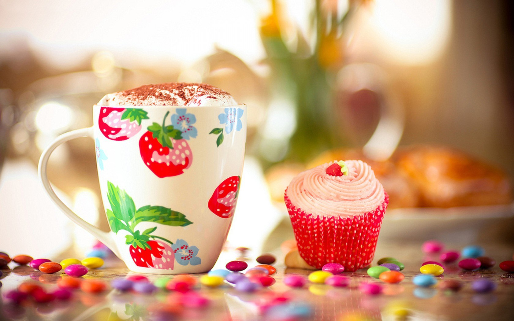Mug Drink Foam Cake Candy Jelly Beans Food Wallpaper