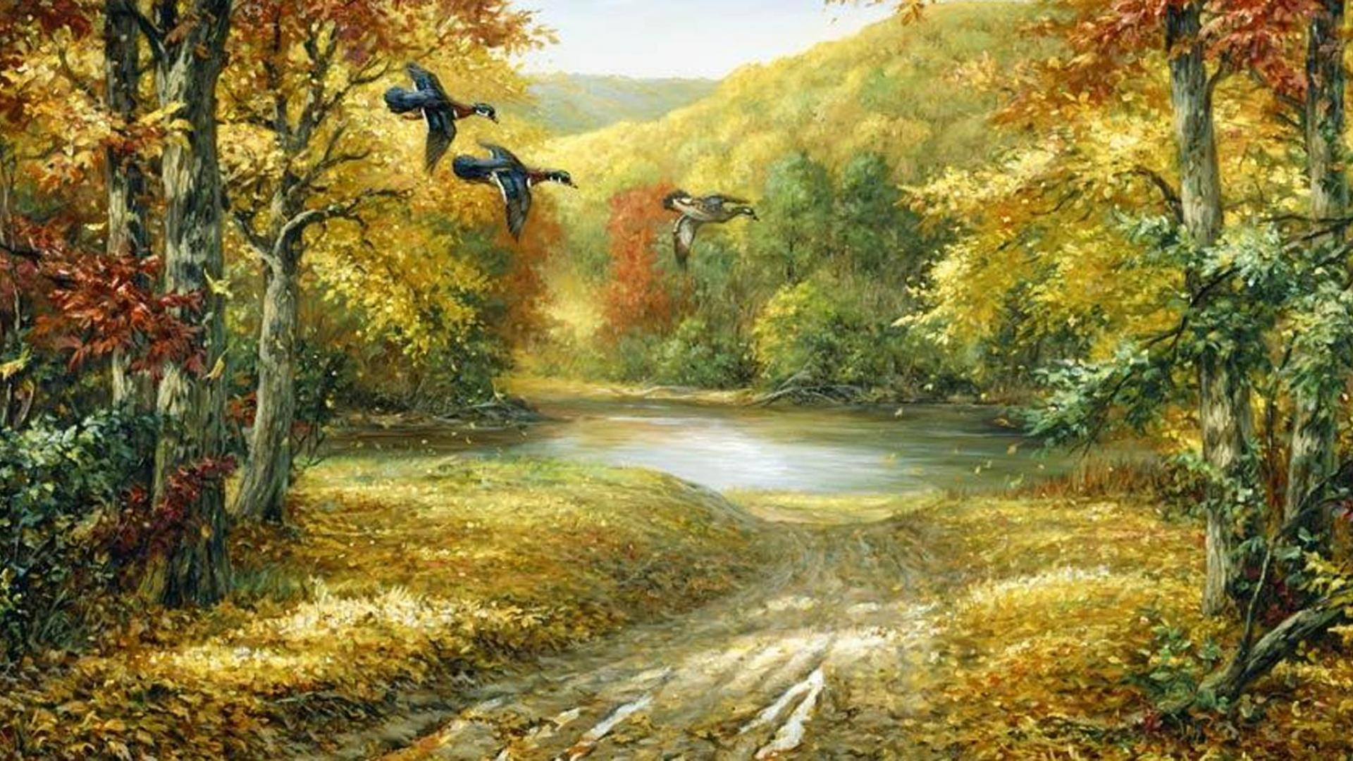 Wallpaper Tags: birds painted sky shrubs weeds brown ducks autumn yellow hills mountains outdoors fall beautiful trees water nature green plants forest ...