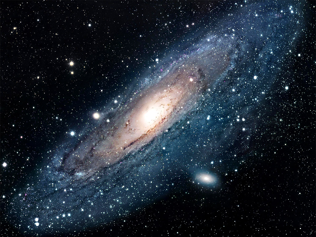 This is what the Andromeda galaxy looks like from NASA, and this is what it looks like though a telescope.