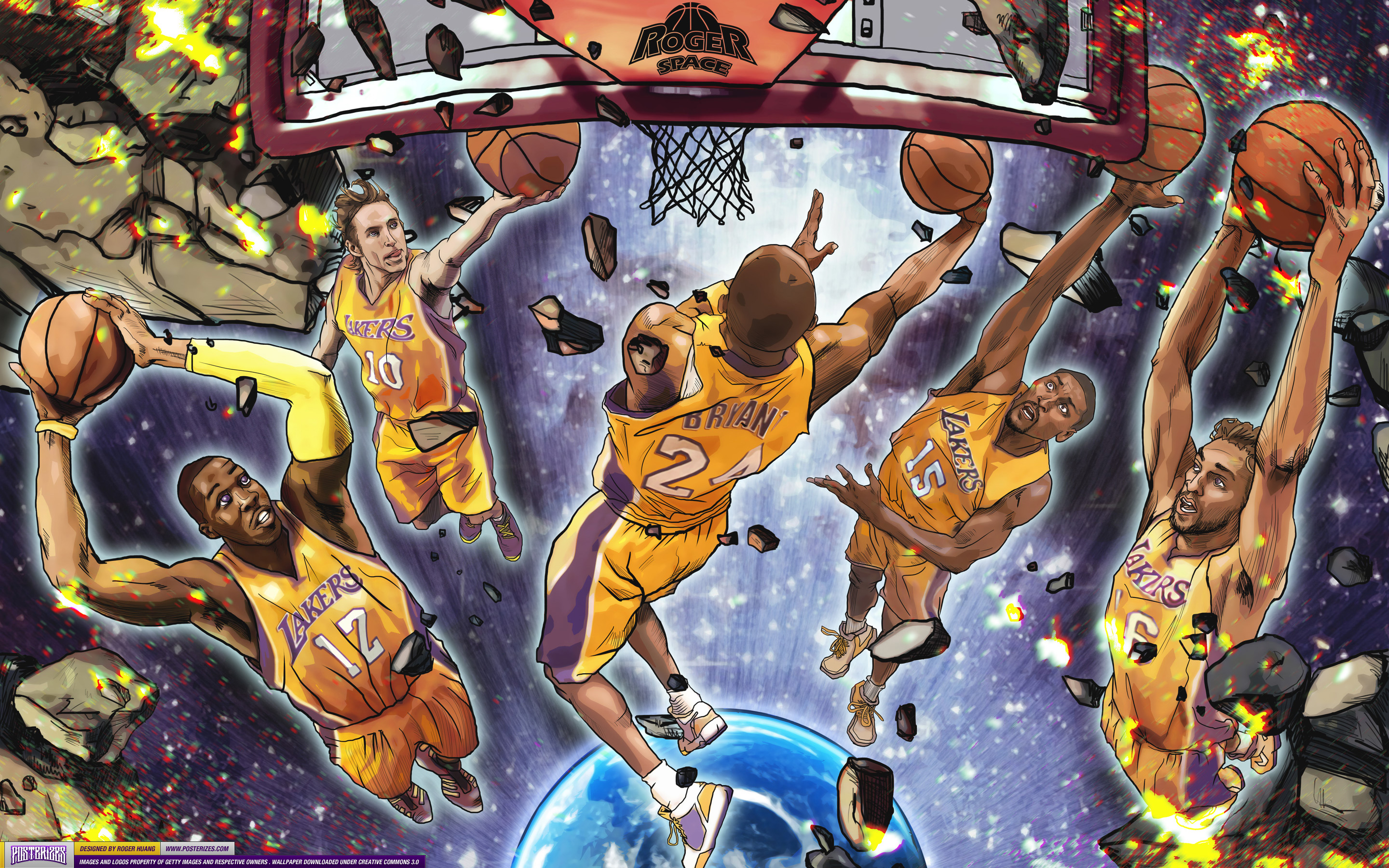 Los Angeles Lakers Starting 5 Wallpaper