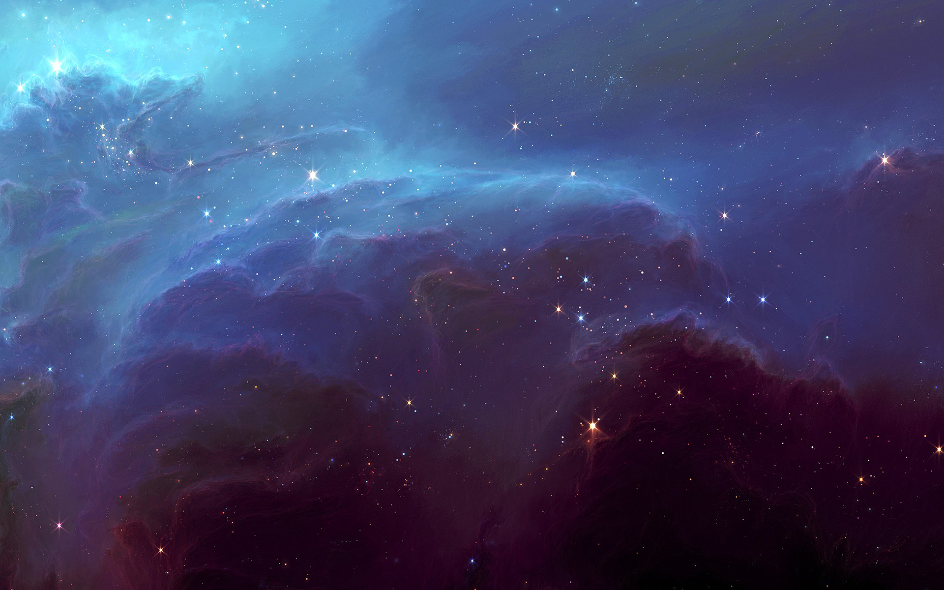 Space blue nebula