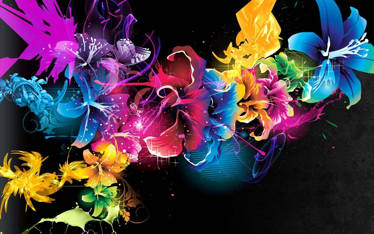 Neon Flower Desktop Wallpaper Free