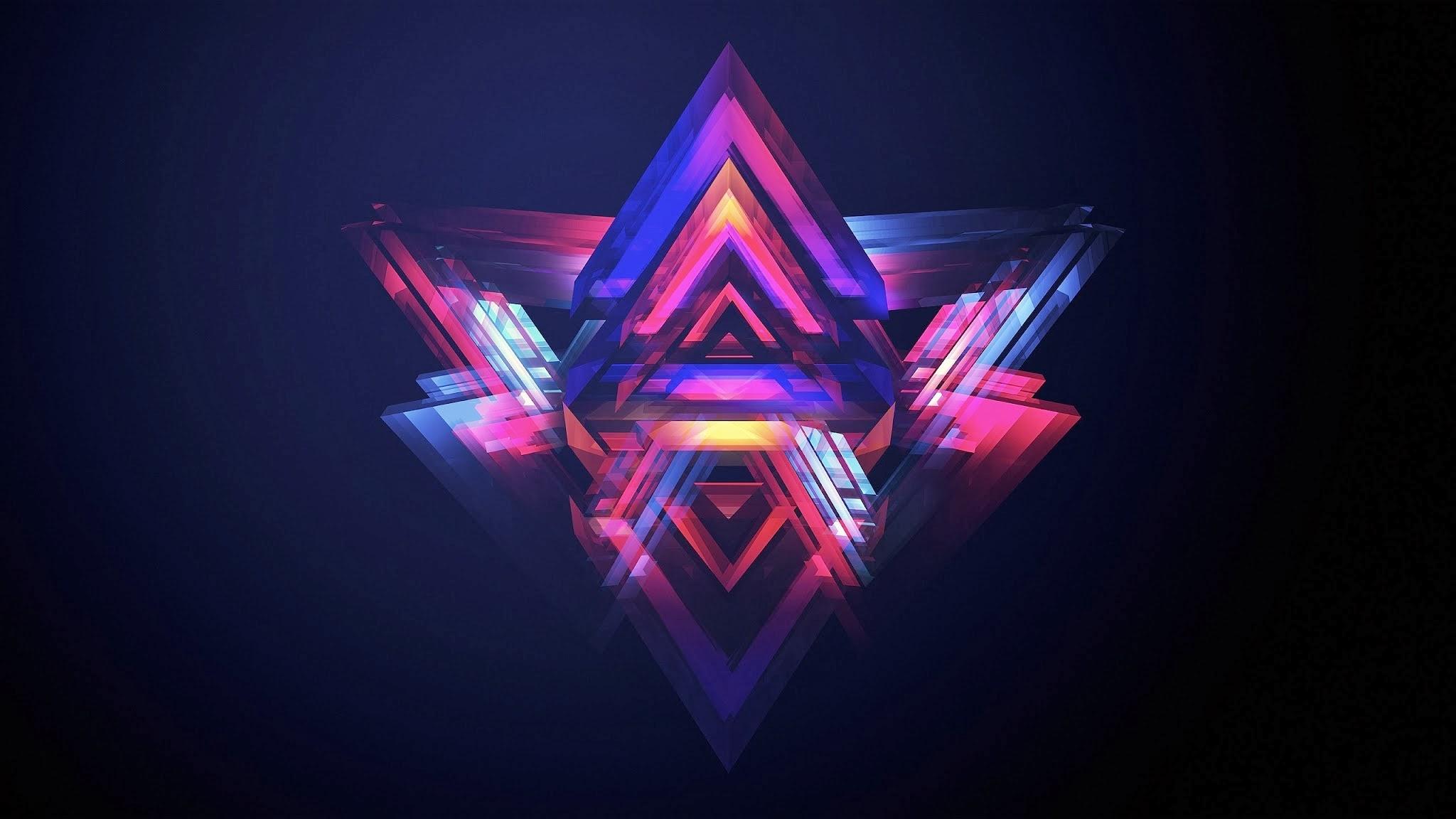Neon Pyramids Wallpaper