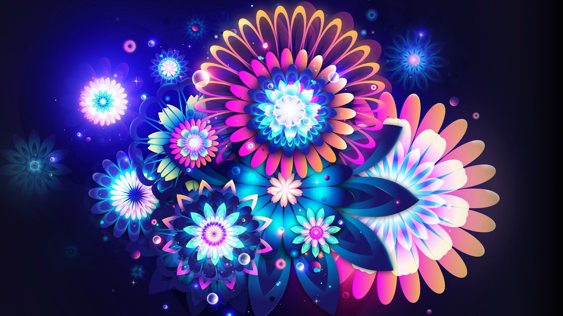 Abstract Neon Flowers Wallpaper 3266