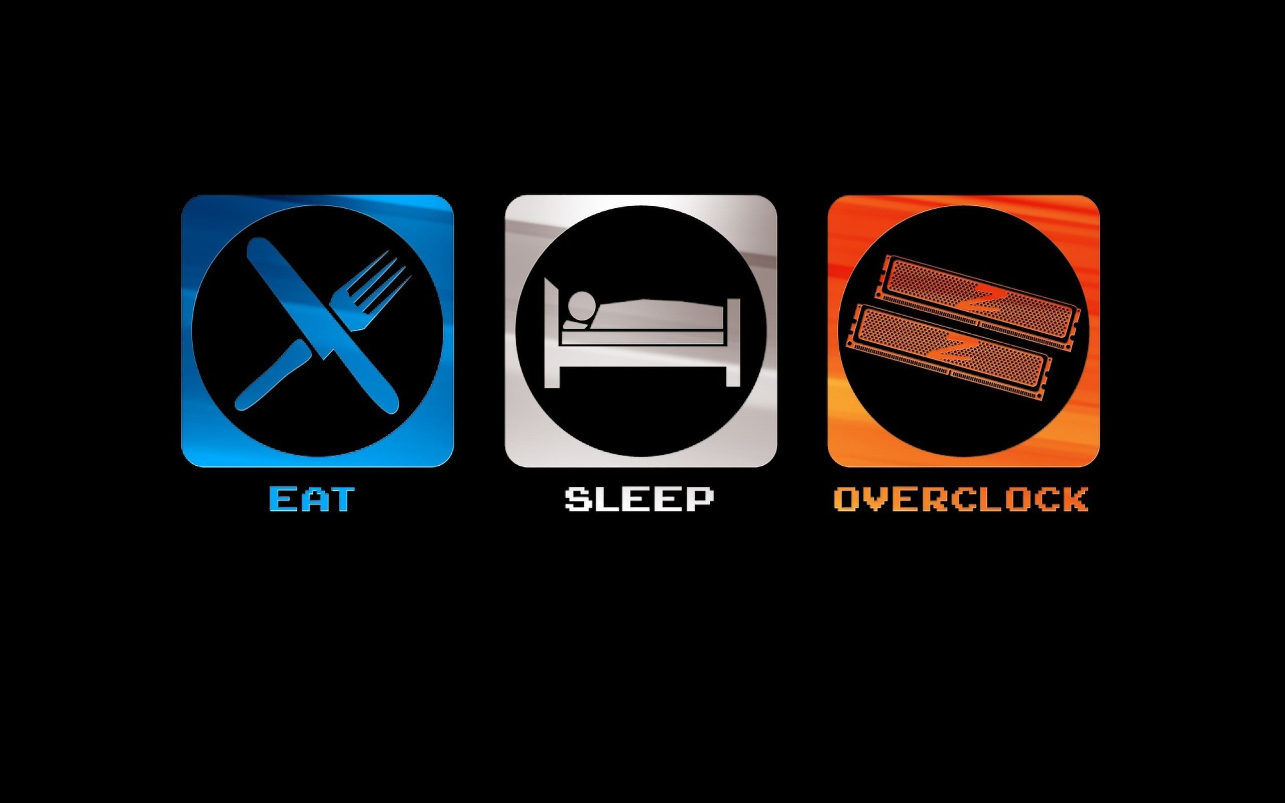 Eat Sleep Overclock Computers Nerd Hd Desktop Wallpaper Black 2560x1600px