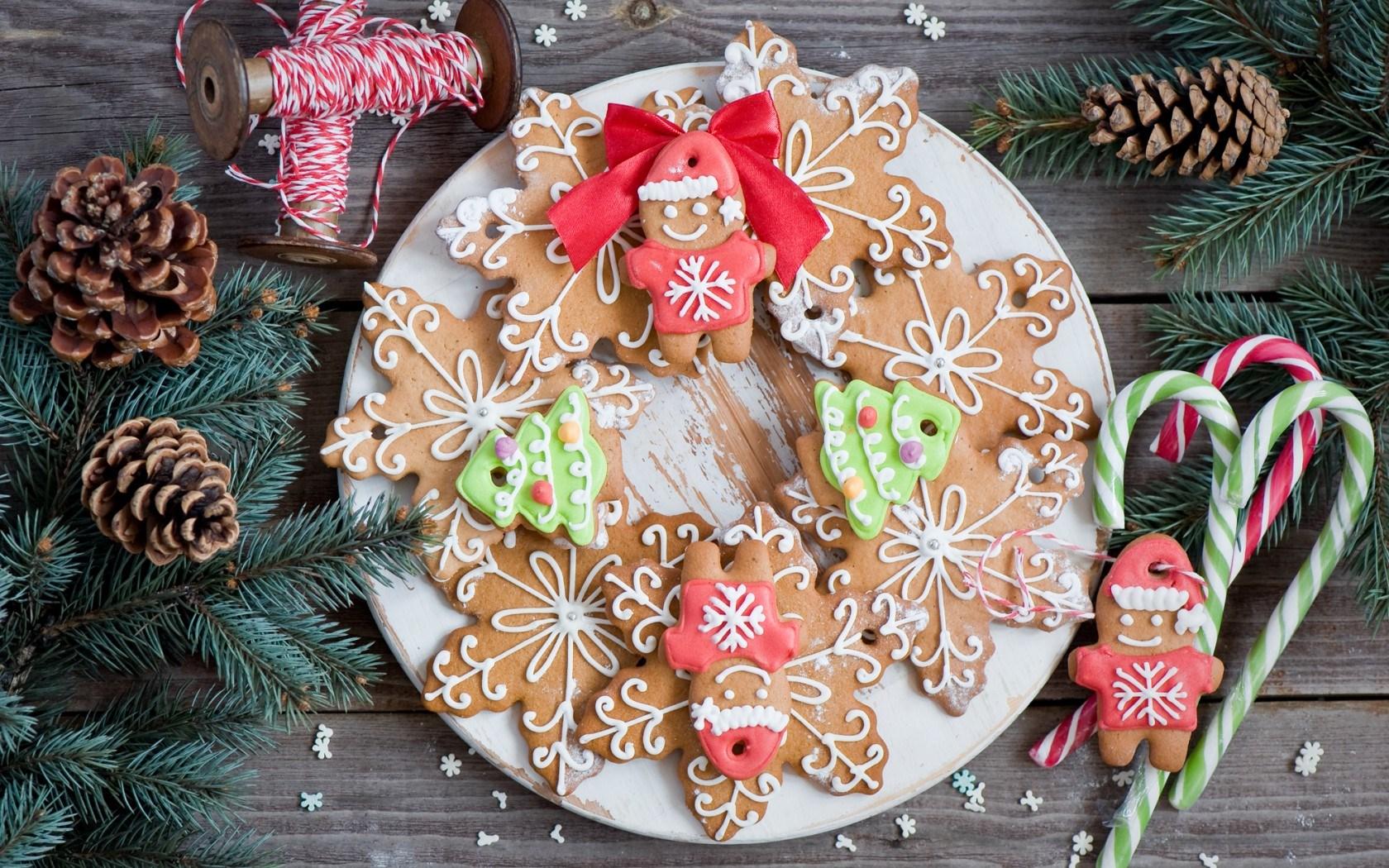 New Year Christmas Cookies Figurines Snowflakes Dessert