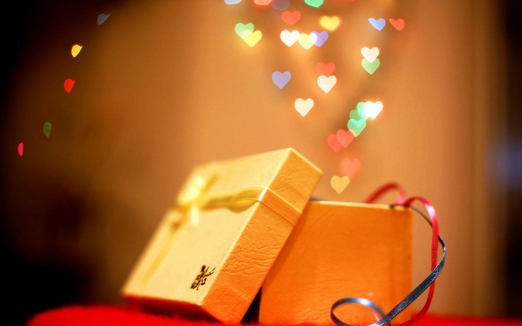 Holiday New Year Christmas Gift Box Bokeh Hearts