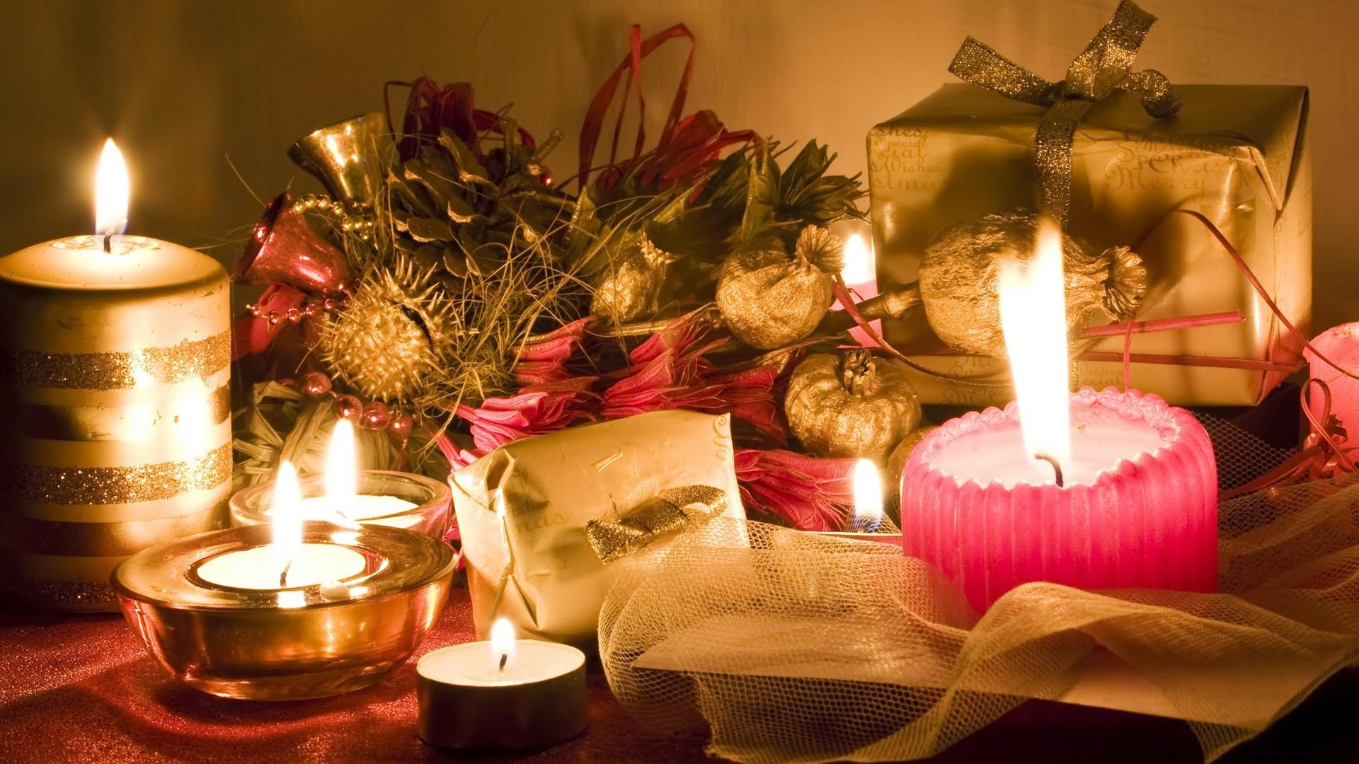 1920x1080 Wallpaper candles, table, gifts, new year, christmas, mood, holiday
