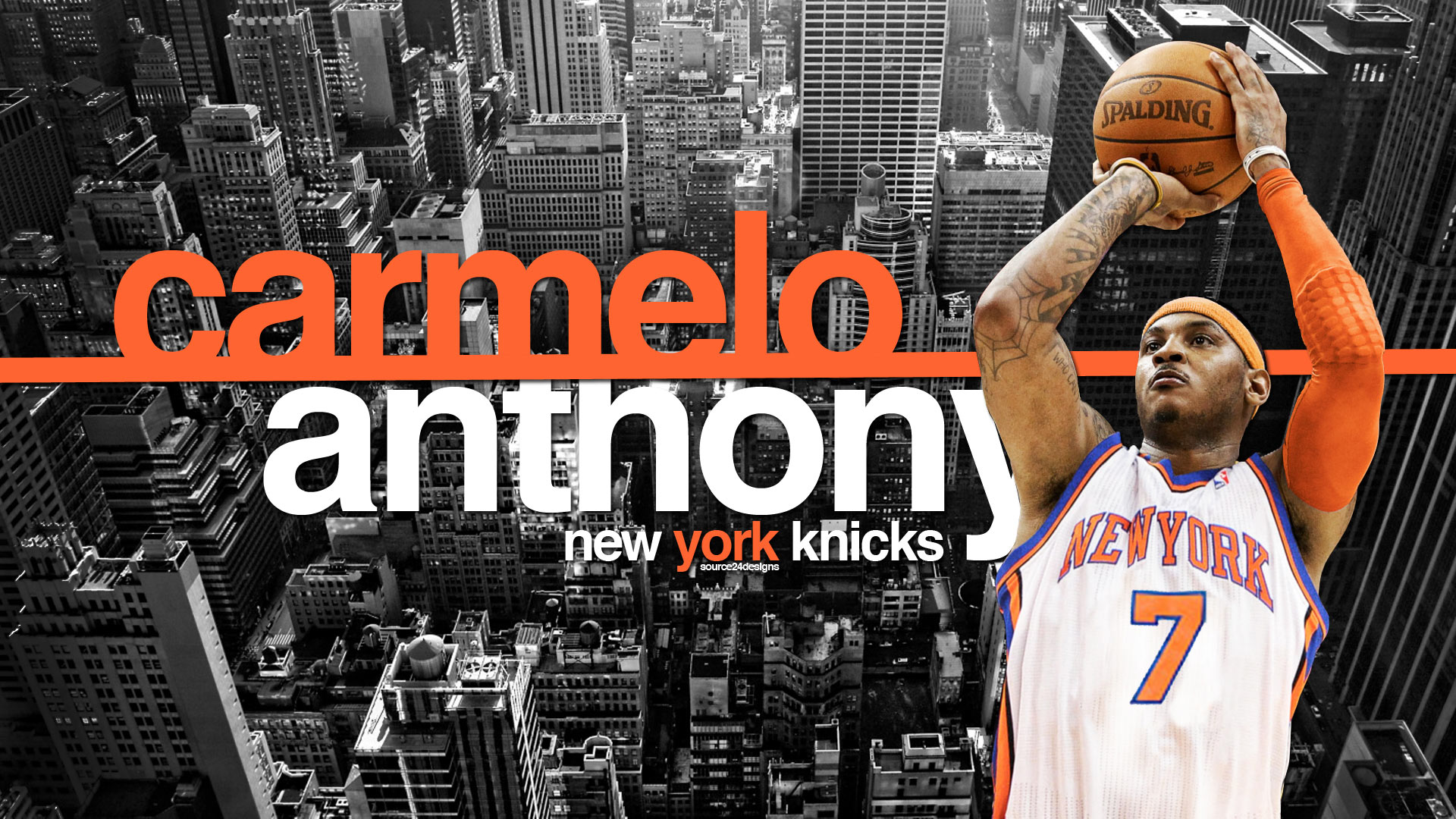 Carmelo Anthony New York Knicks Widescreen Wallpaper