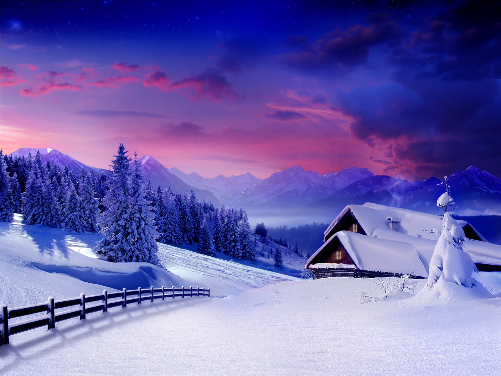 December Morning Snow wallpaper