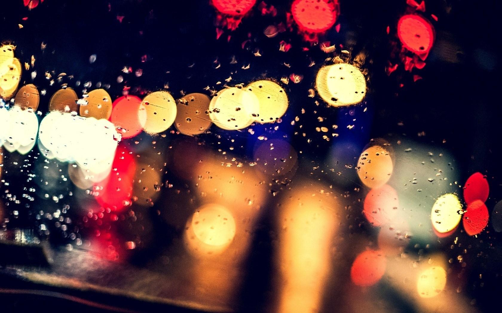 Night Glass Bokeh Lights Rain