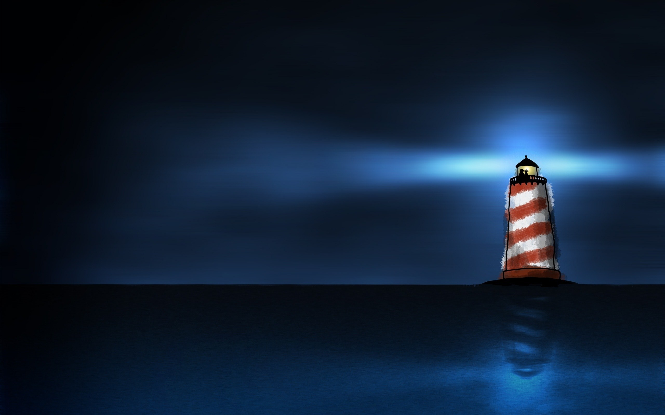 Night Lighthouse Sea Art
