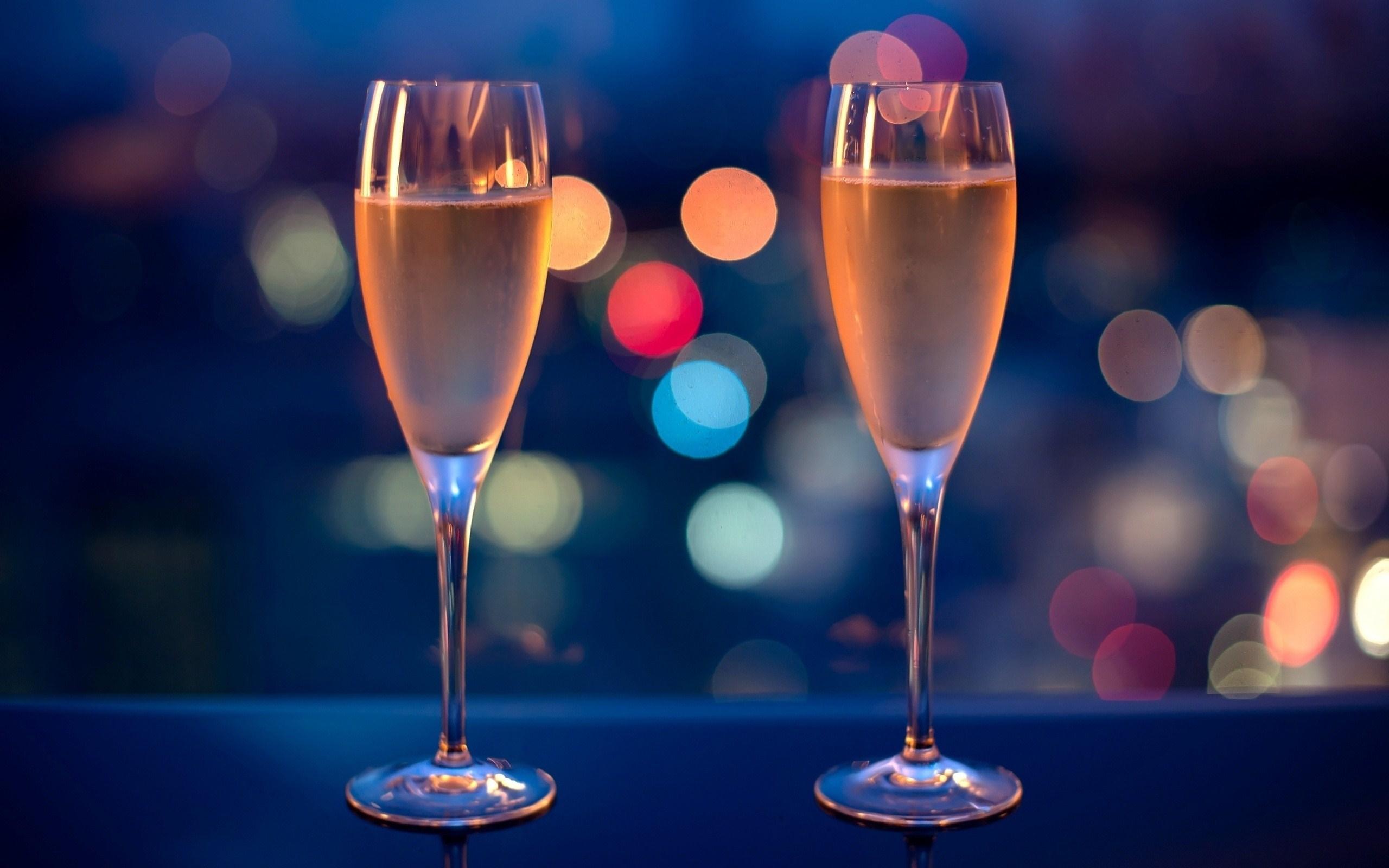 Night Lights Champagne Glasses Photo