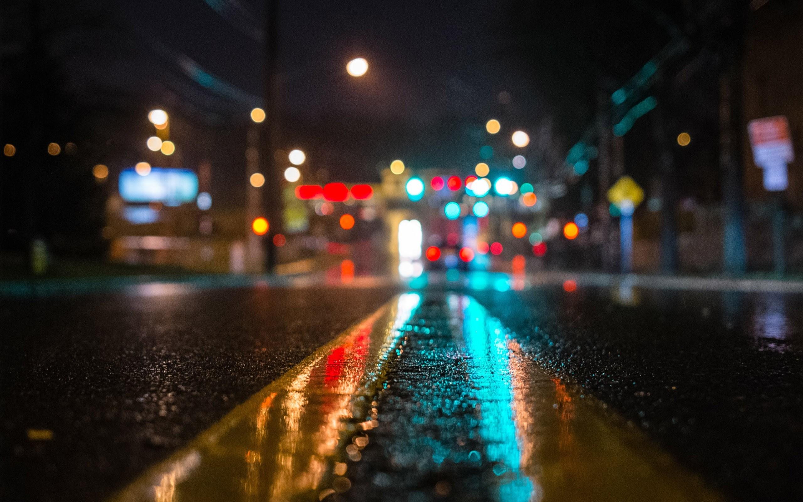 New York City Street Night Lights Hd Wallpaper