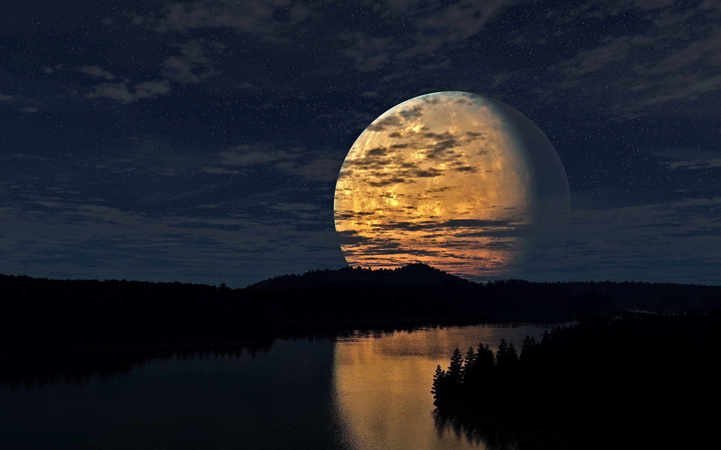 Night moon river scenery