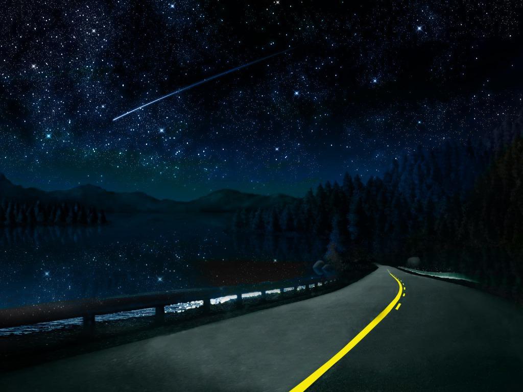 Beautiful Night Sky Road Yvt Desktop Wallpaper