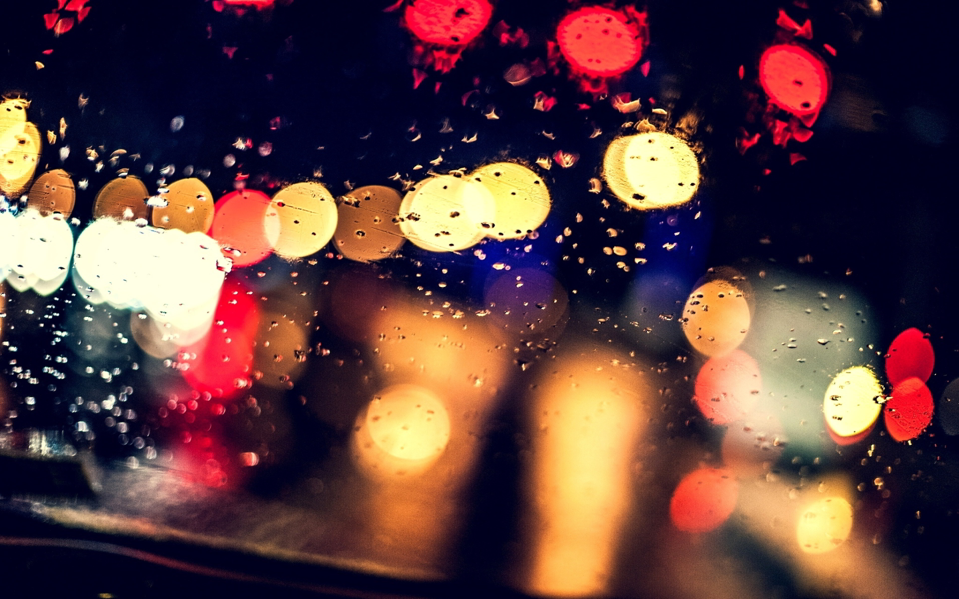 Night wet glass lights