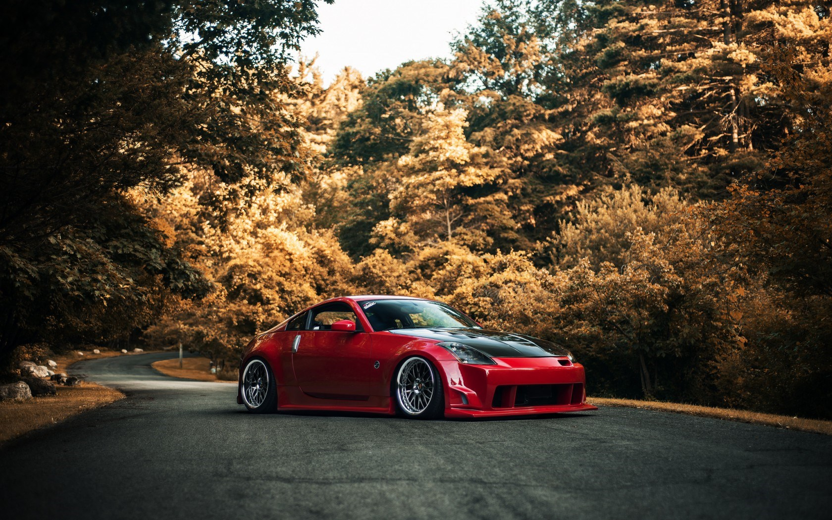 Nissan 350Z Red Car Tuning Road Autumn
