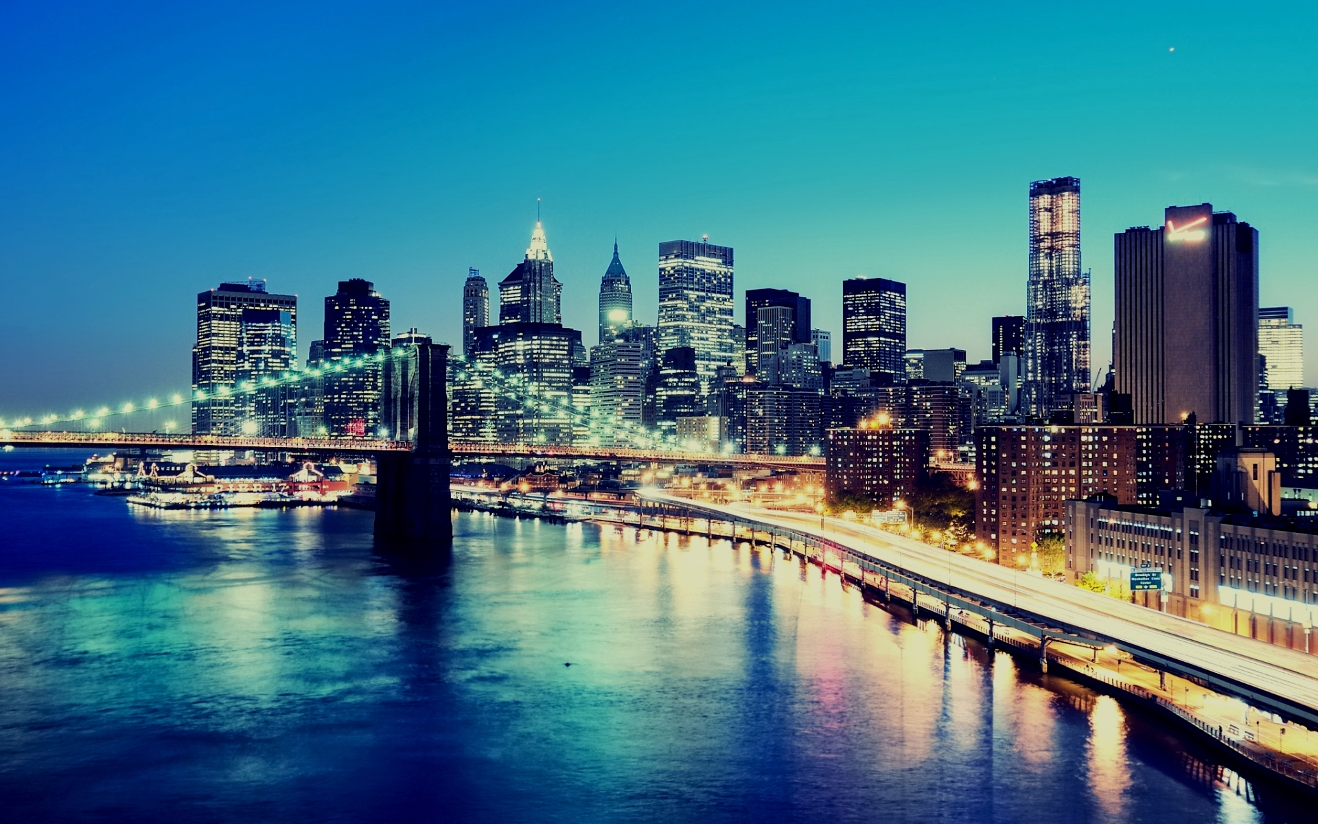 Night, city lights, buildings, skyscrapers, new york city, ny, lower manhattan