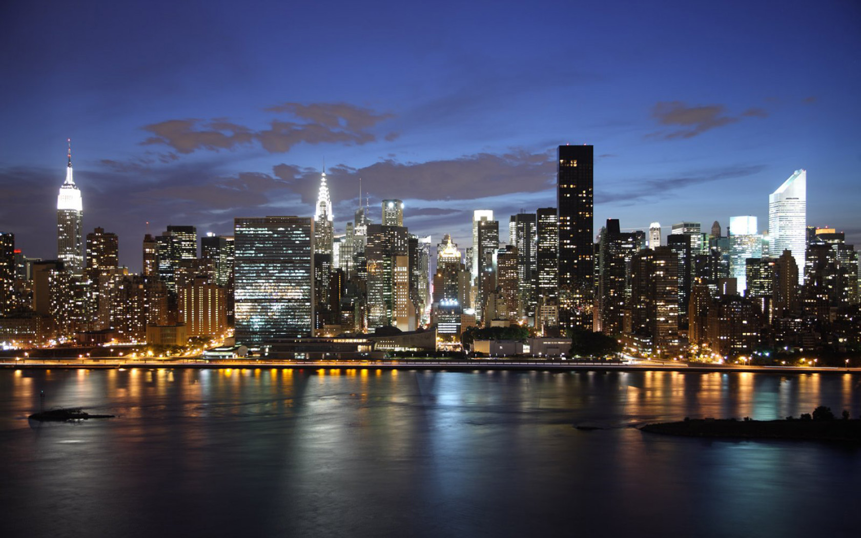 New York Skyline At Night 1680x1050 wallpaper