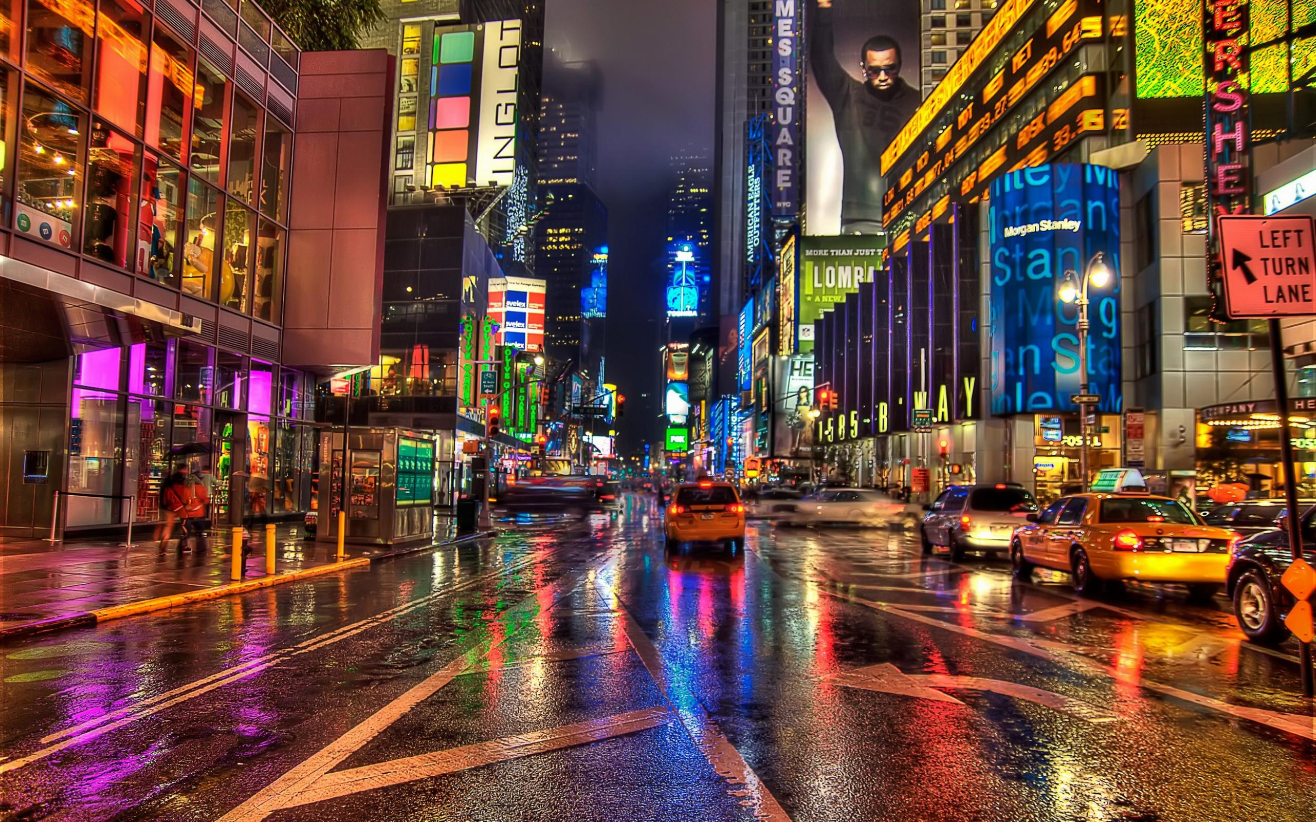 Nyc Wallpaper: Remarkable New York City Street Night Hd Wallpaper 2560x1600px