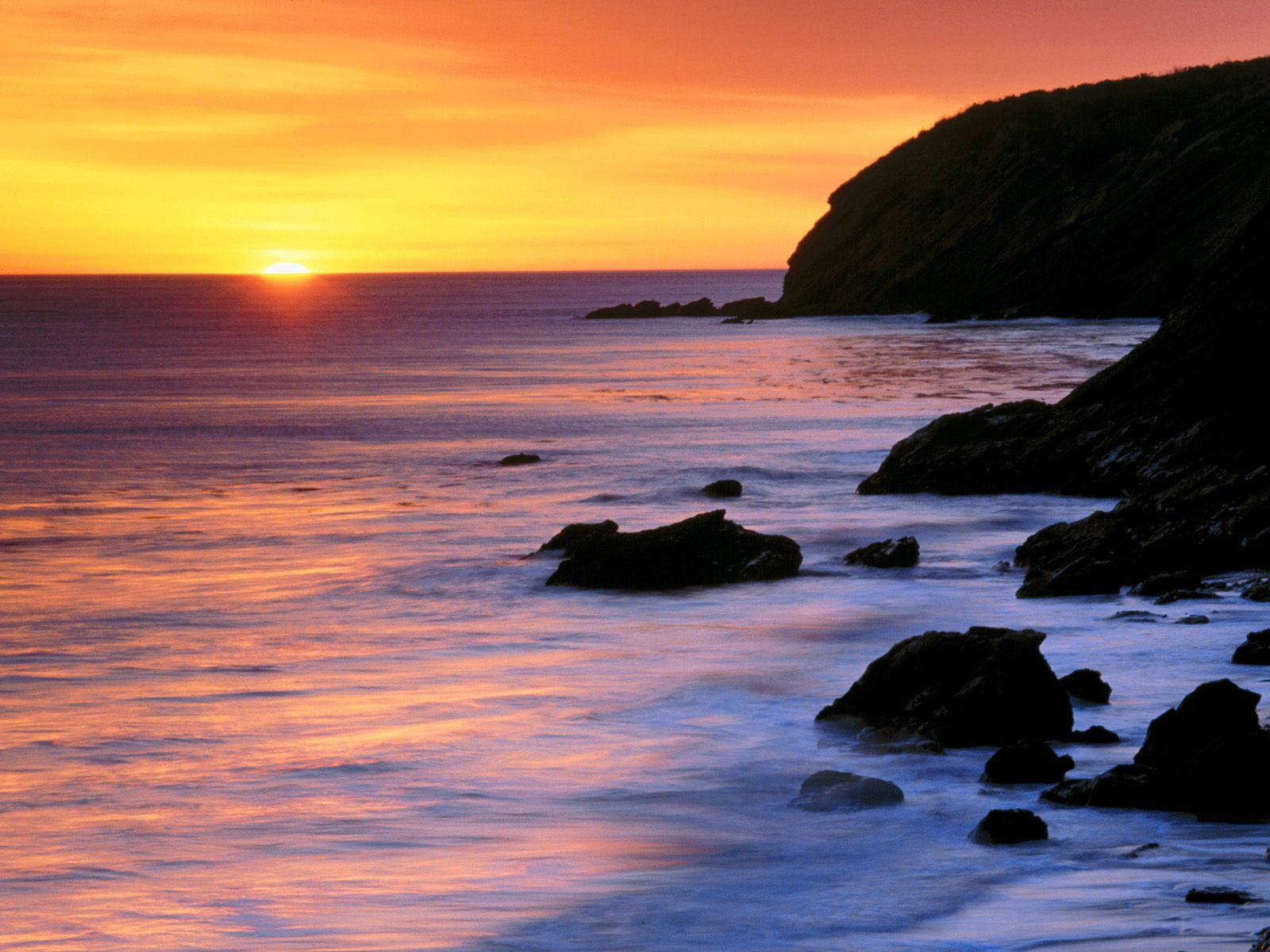 Pacific ocean sunset landscape