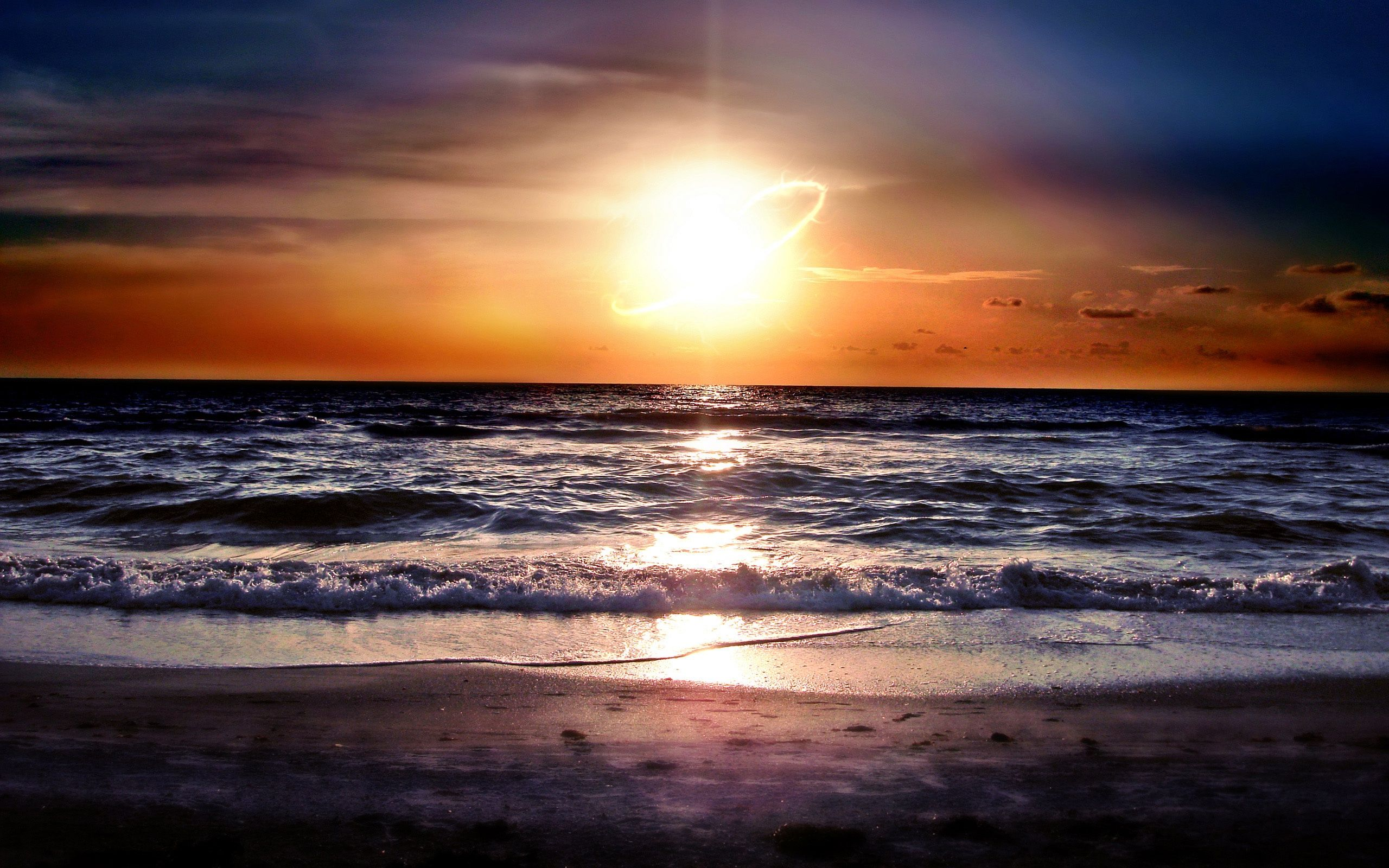 Ocean Waves And Sunset HD Background
