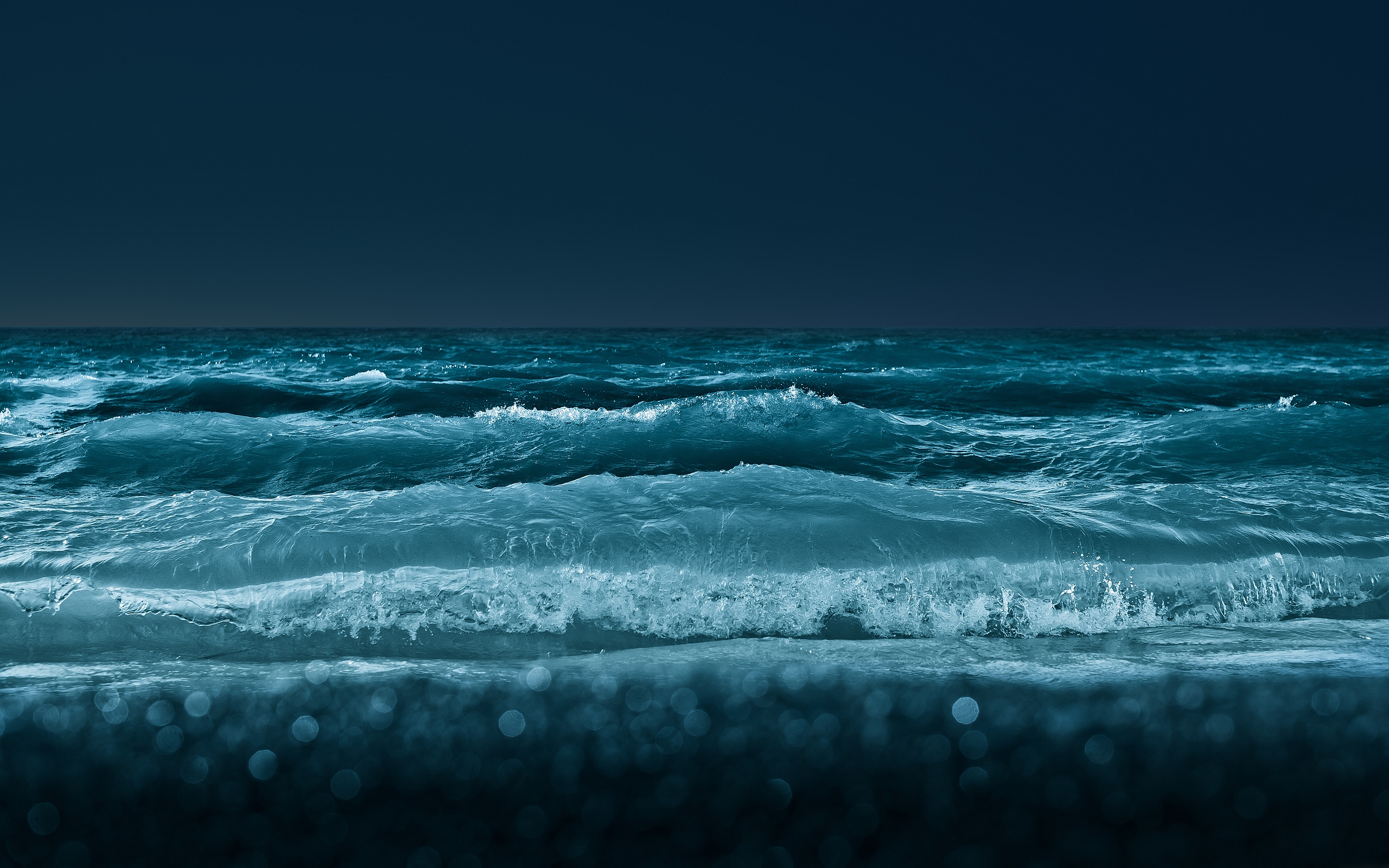 Ocean Waves at Night