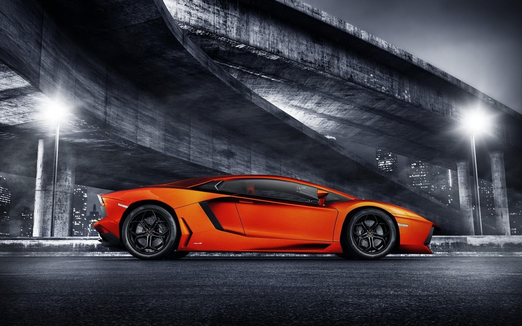 Orange Lamborghini Aventador LP700-4 Bridge Lights