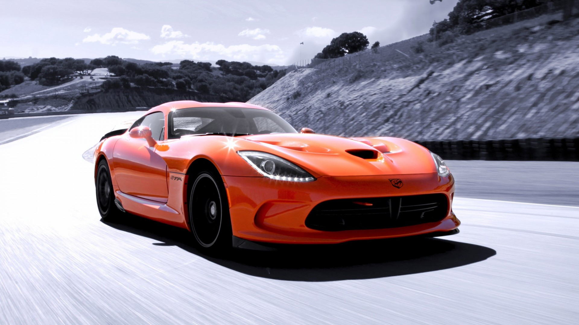 Dodge track speed srt viper orange sky supercar wallpaper