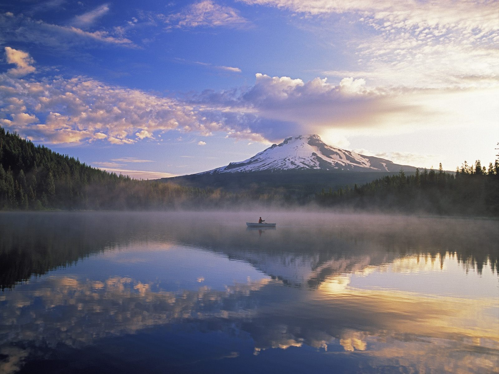 Mount Hood And Fisherman On Trillium Lake Oregon Wallpaper