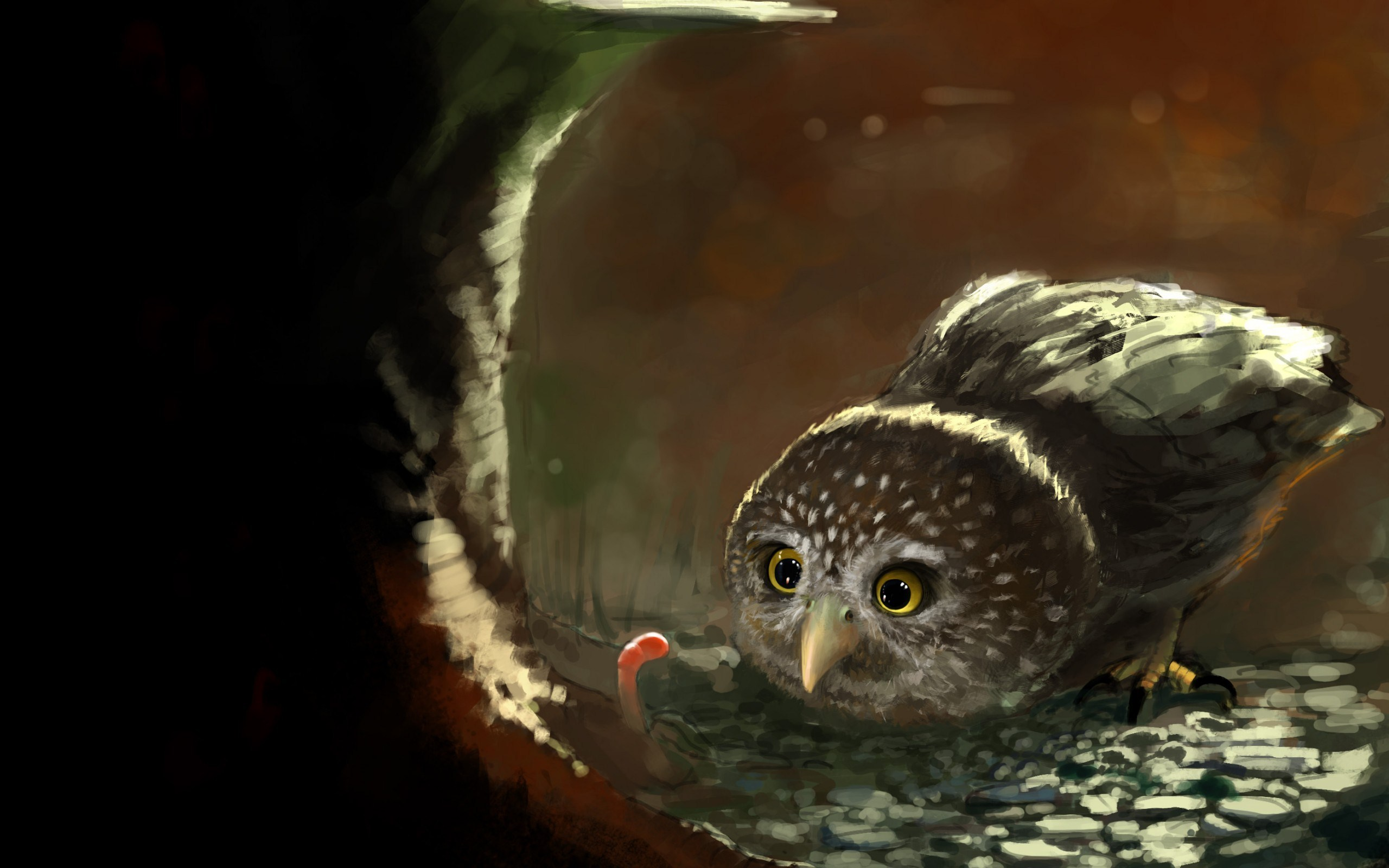 Art Bird Owl Worm