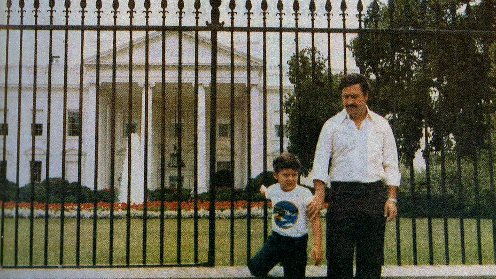 Notorious drug lord Pablo Escobar and his son in front of the White House.