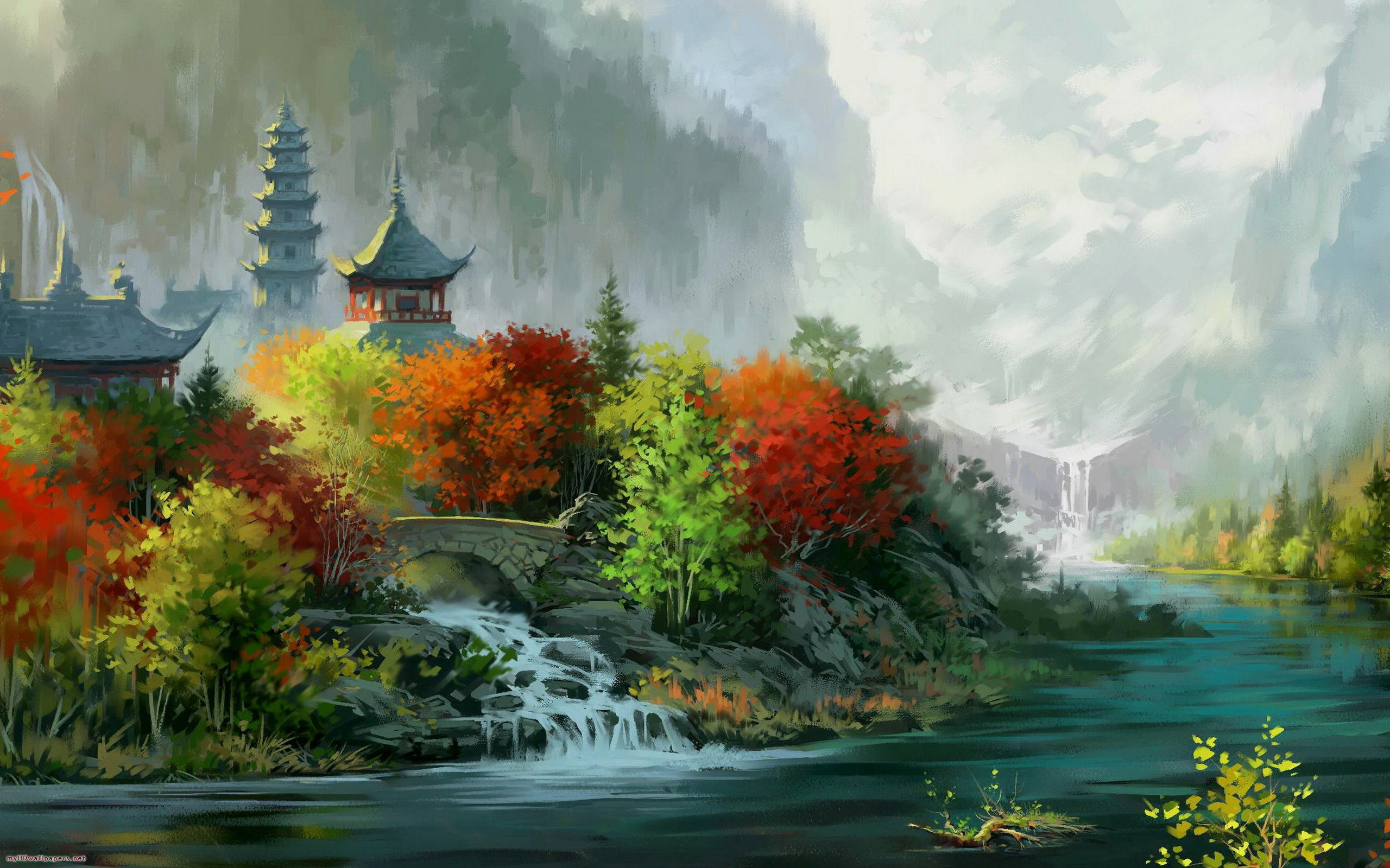 Beautiful monastery painting