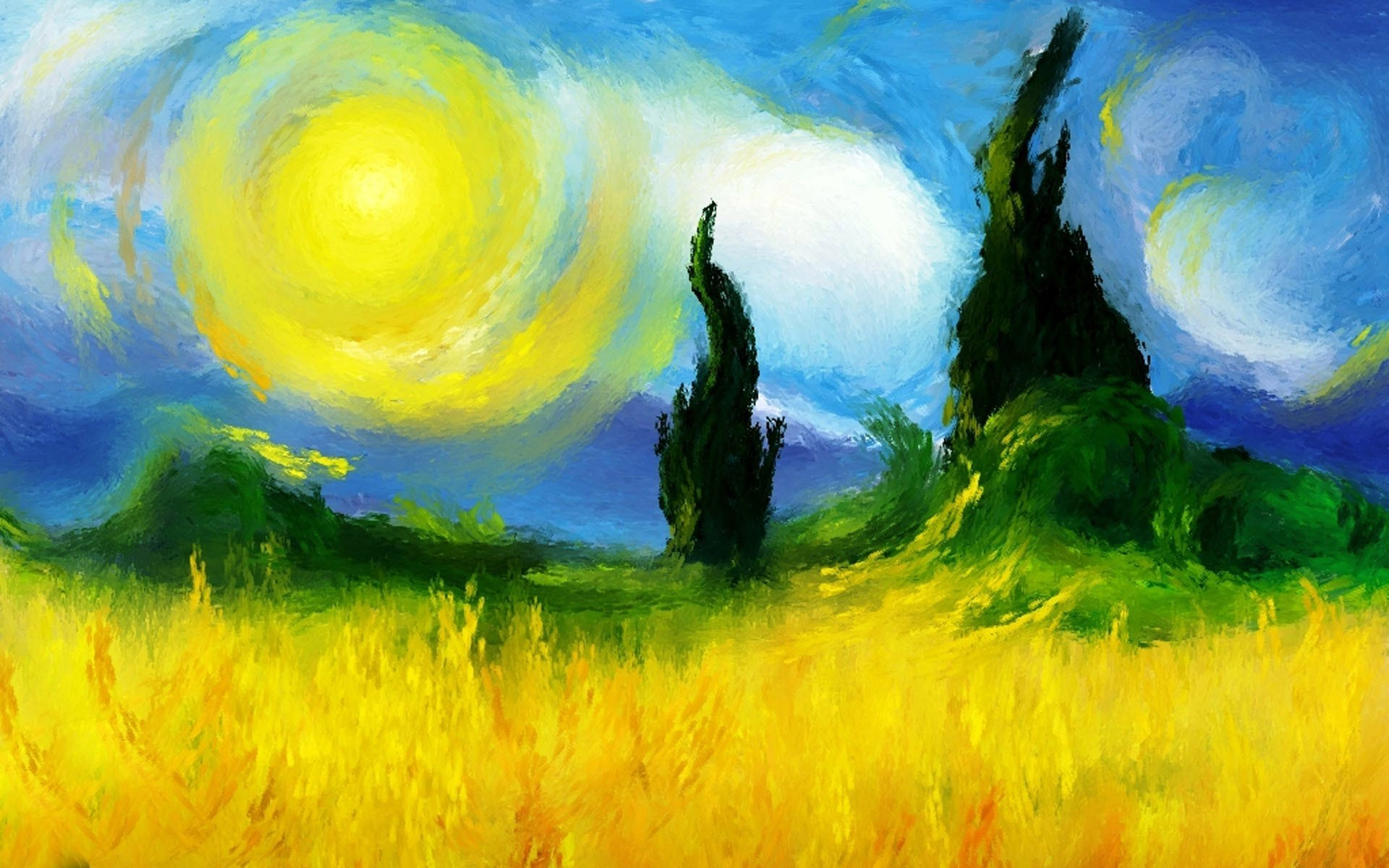 Painting Field Trees Sun Sky Nature