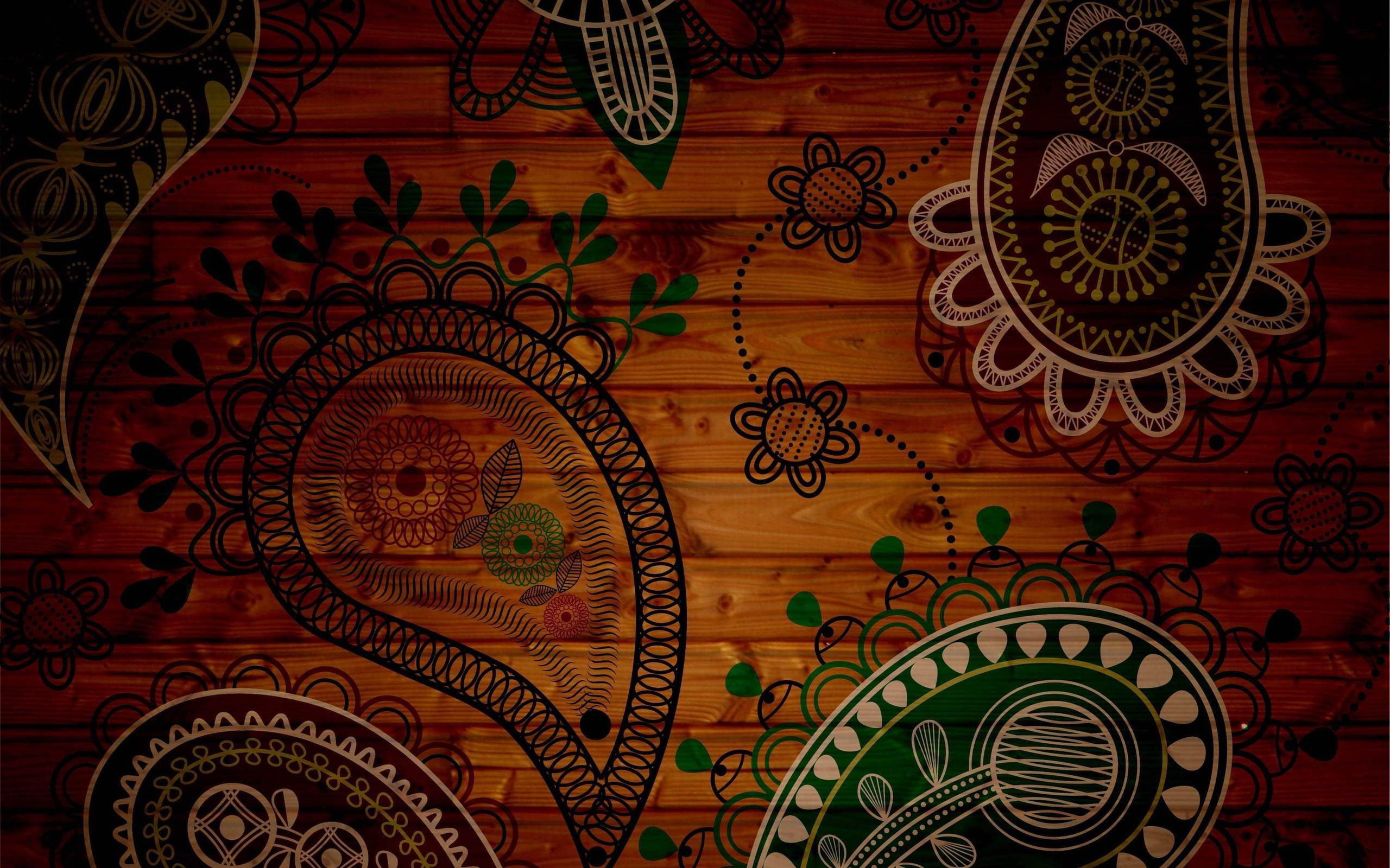 Paisley patterns wood panels 2560x1600