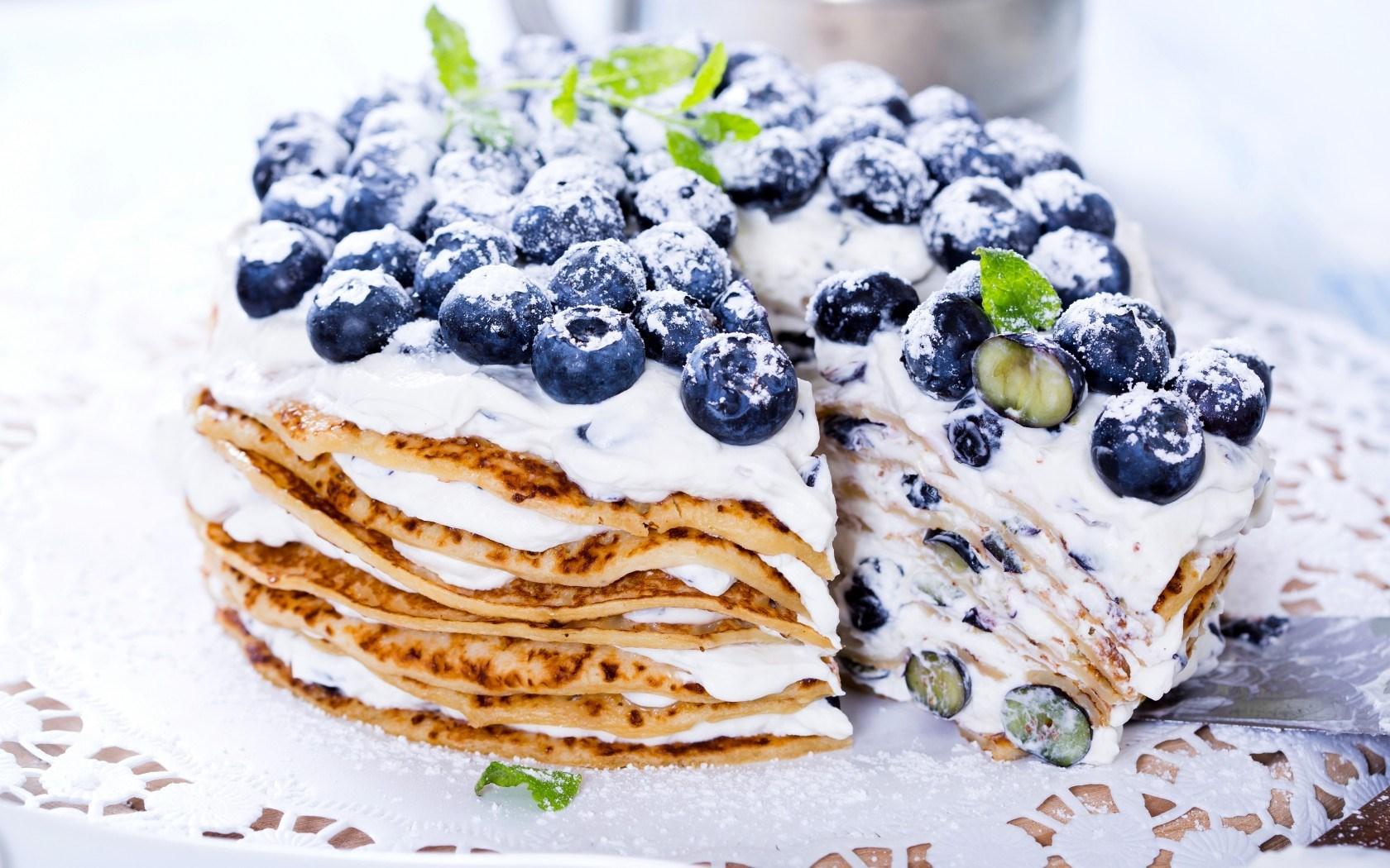 Pancakes Berries Blueberries Blueberry Cream Sweet Dessert