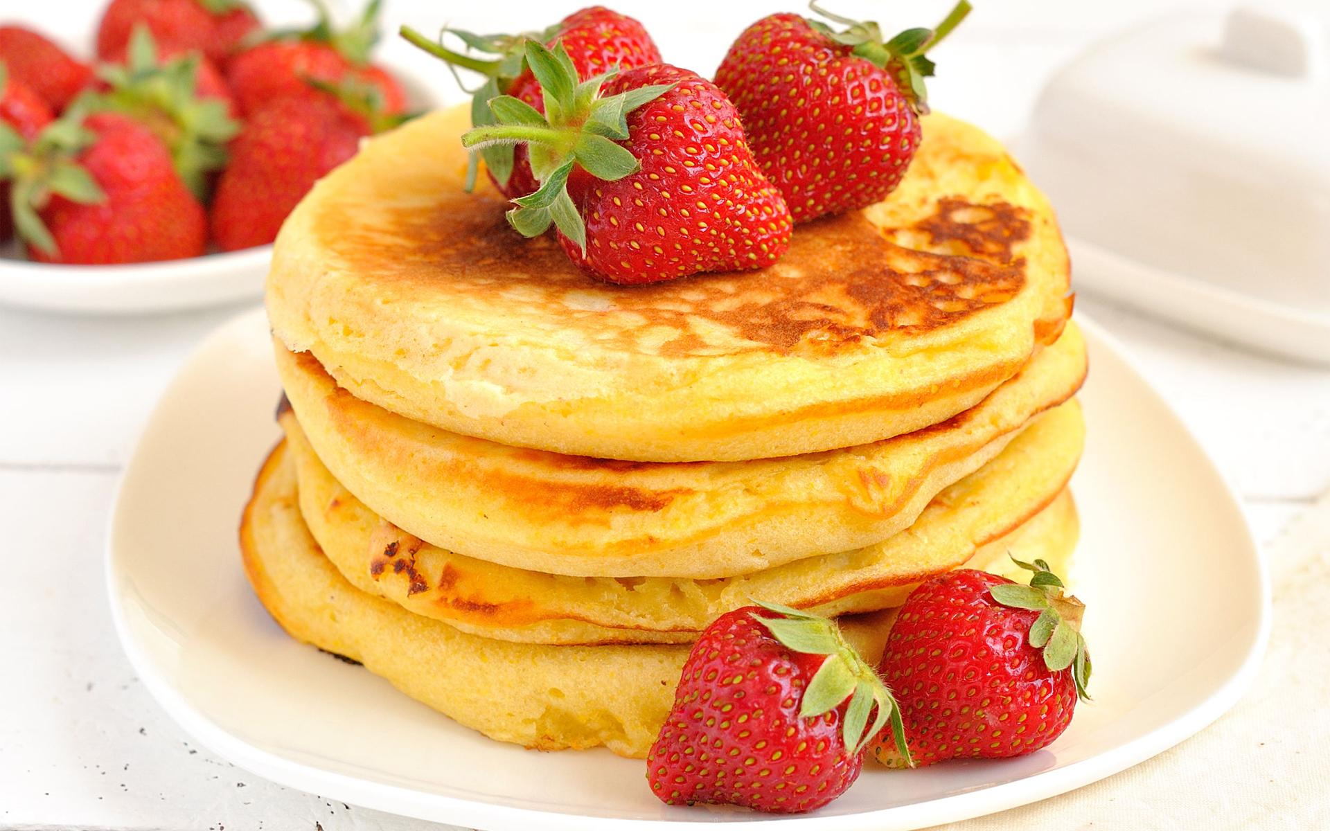 Pancakes Strawberries HD wallpapers