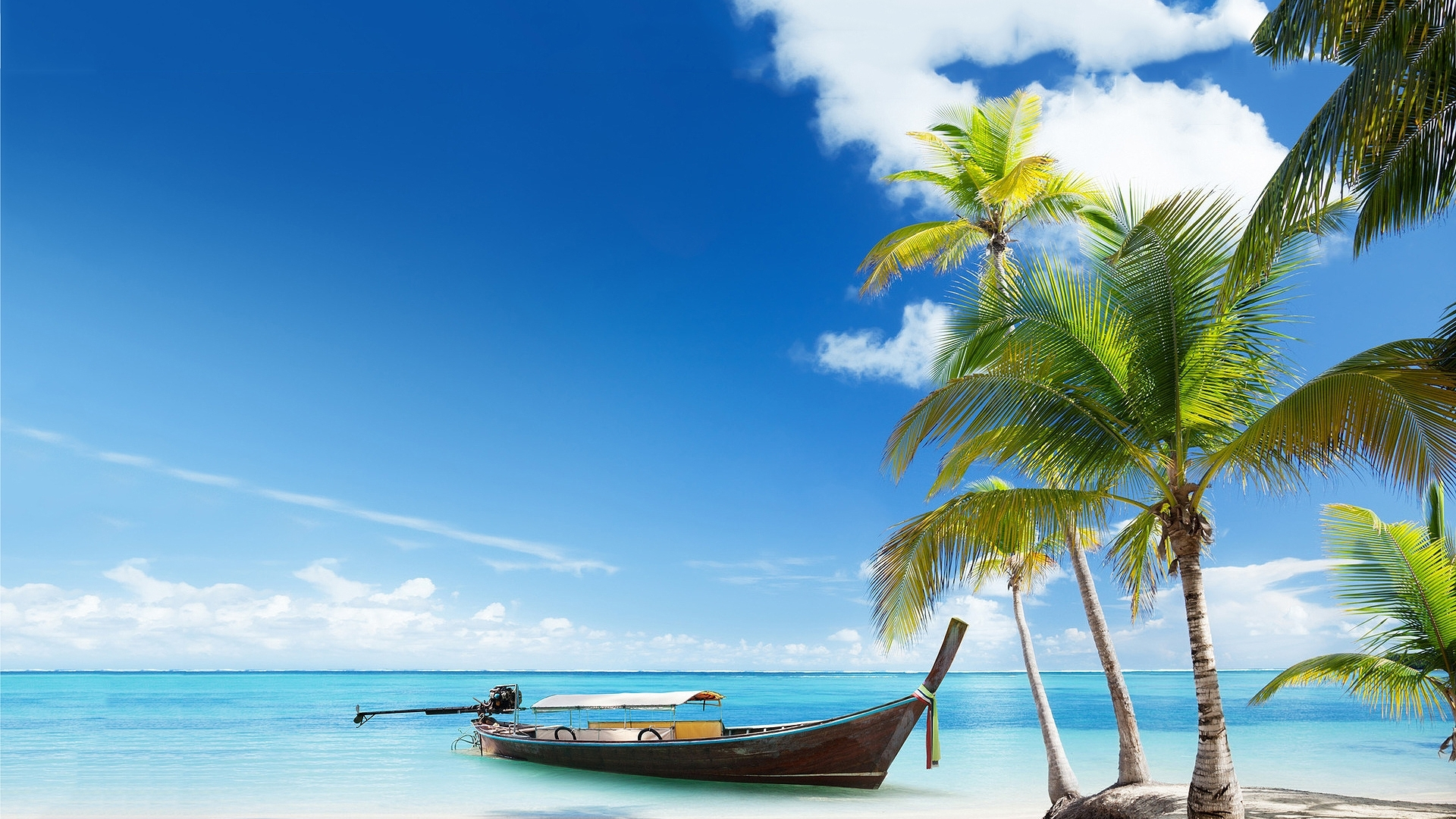 Lonely Boat in Paradise Island Hd Wallpaper List