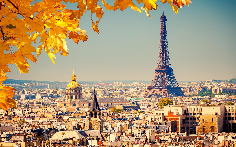 Paris eiffel tower autumn